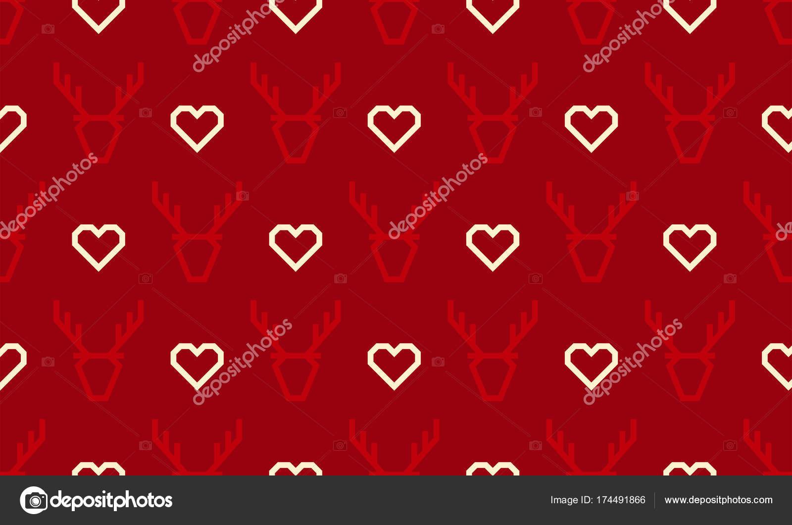 Boże Narodzenie W Tle Bez Szwu Jelenia Reniferów I Serce