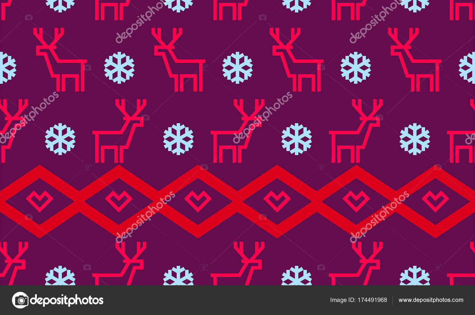 Christmas Snowflake And Deer Pattern Background For Winter Holiday
