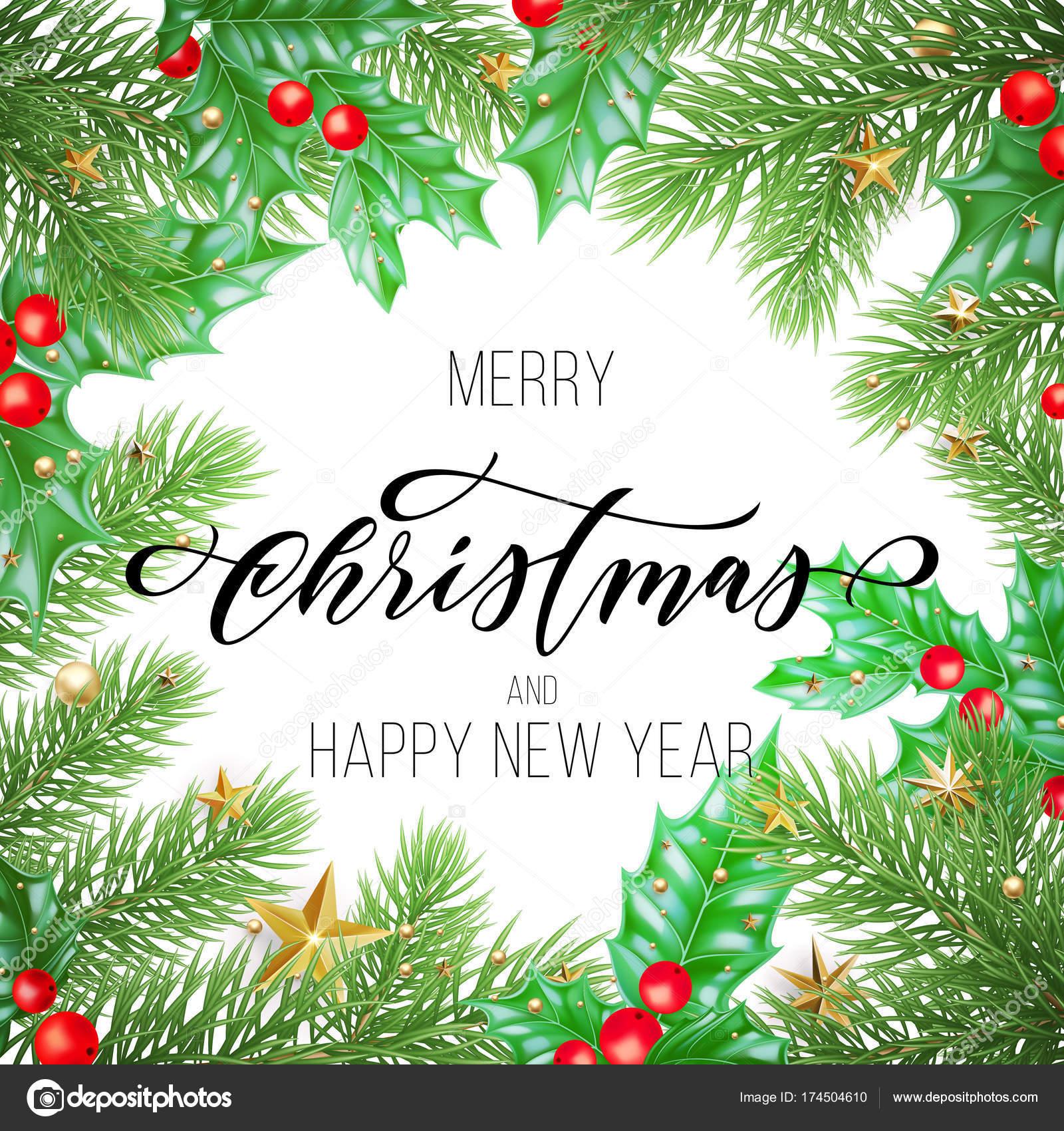 Feliz Navidad y feliz año nuevo presupuesto dibujado caligrafía en ...