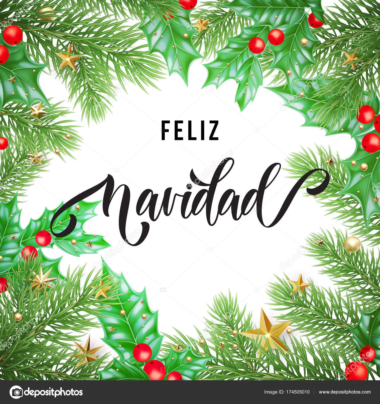 Feliz Navidad Español feliz Navidad mano dibujado caligrafía y acebo ...