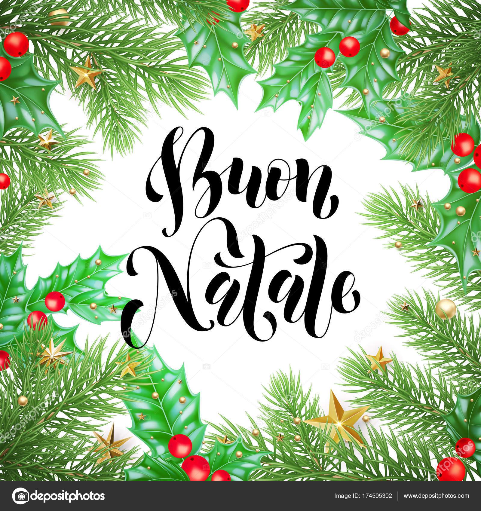 Buon Natale Italiaanse Merry Christmas Vakantie Hand Getrokken