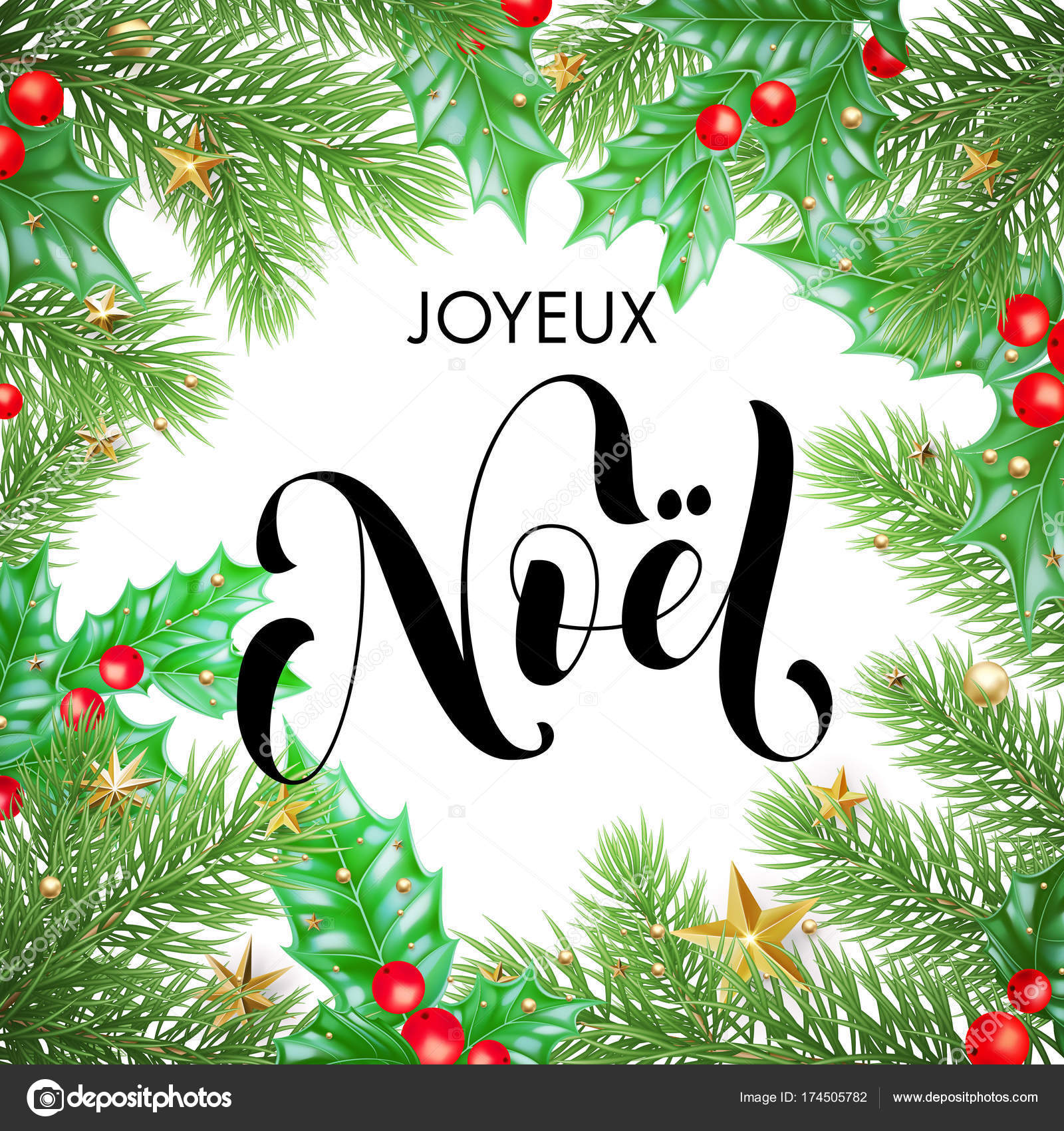 Joyeux noel french merry christmas hand drawn quote calligraphy and joyeux noel french merry christmas hand drawn quote calligraphy and christmas holly wreath for holiday greeting card background template maxwellsz