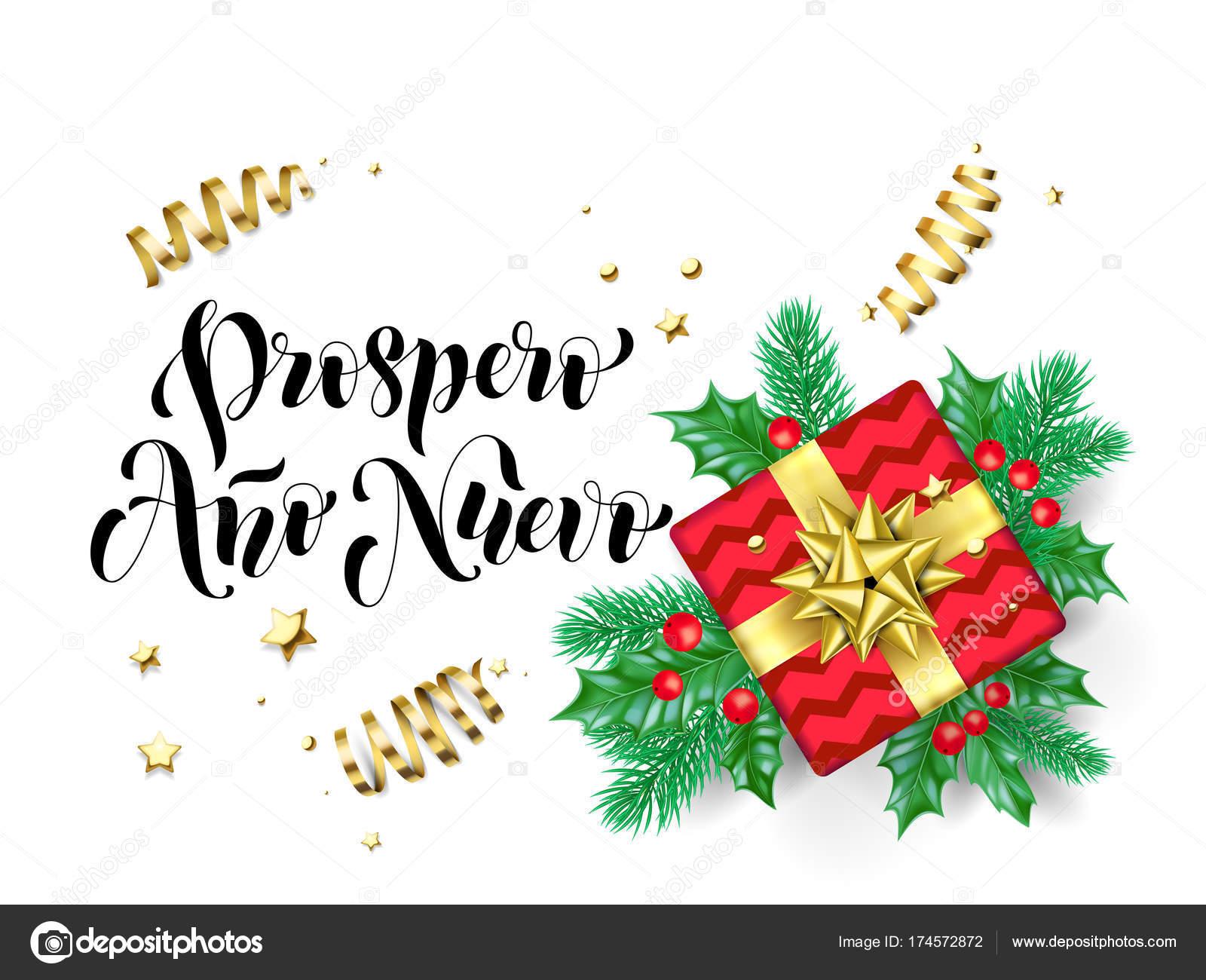 Prospero Ano Nuevo Feliz Ano Novo Espanhol Caligrafia Mão