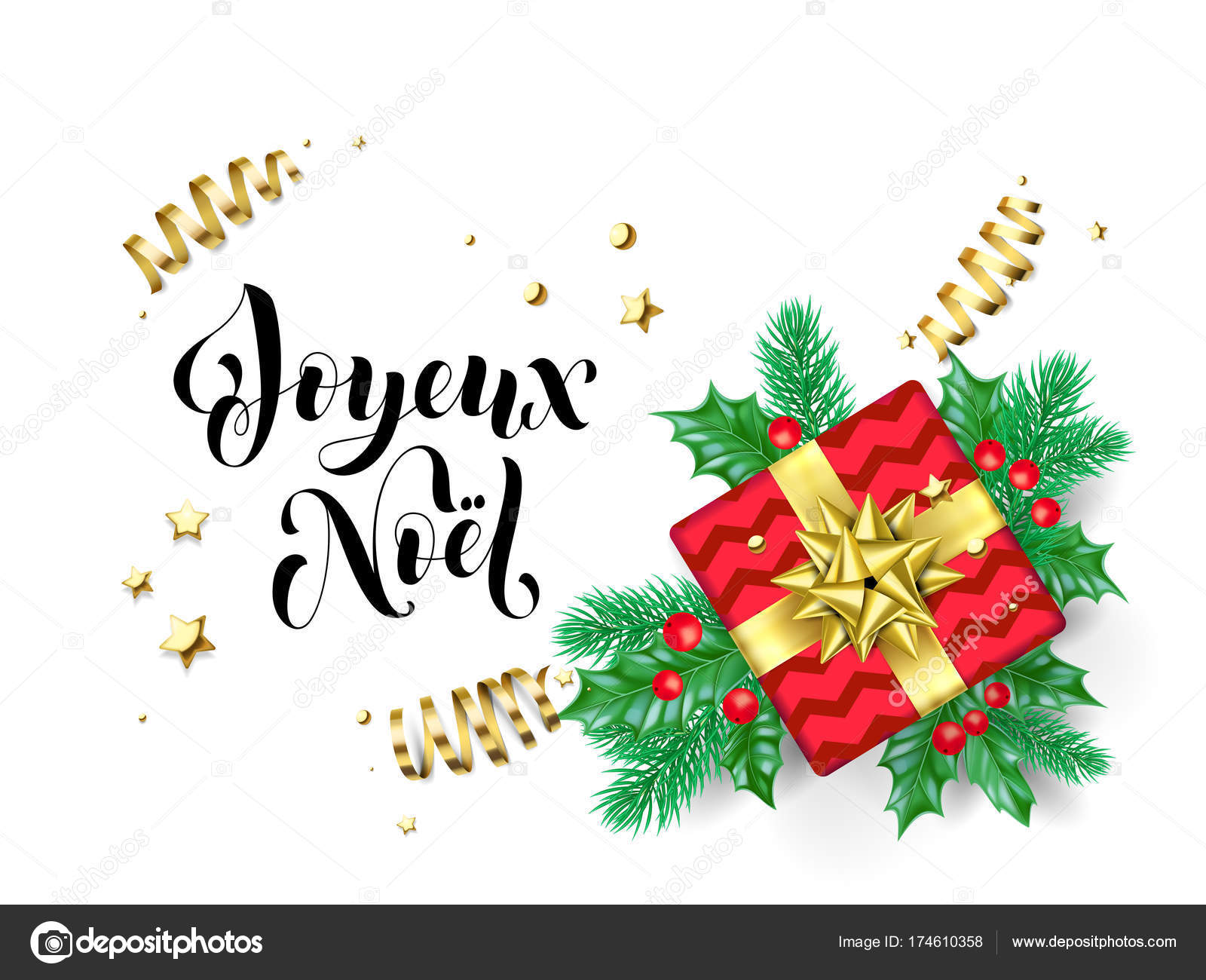 joyeux noel merry christmas french trendy quote calligraphy on white premium background for winter holiday design - Merry Christmas French