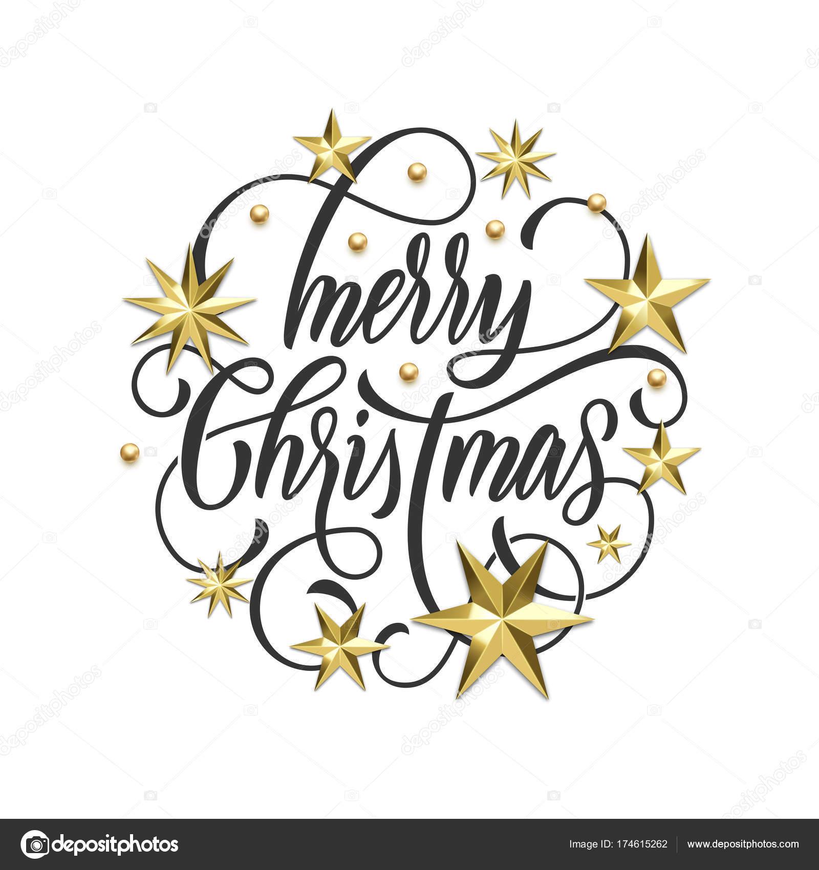 Merry En: Merry Christmas Gouden Decoratie, Hand Getekende