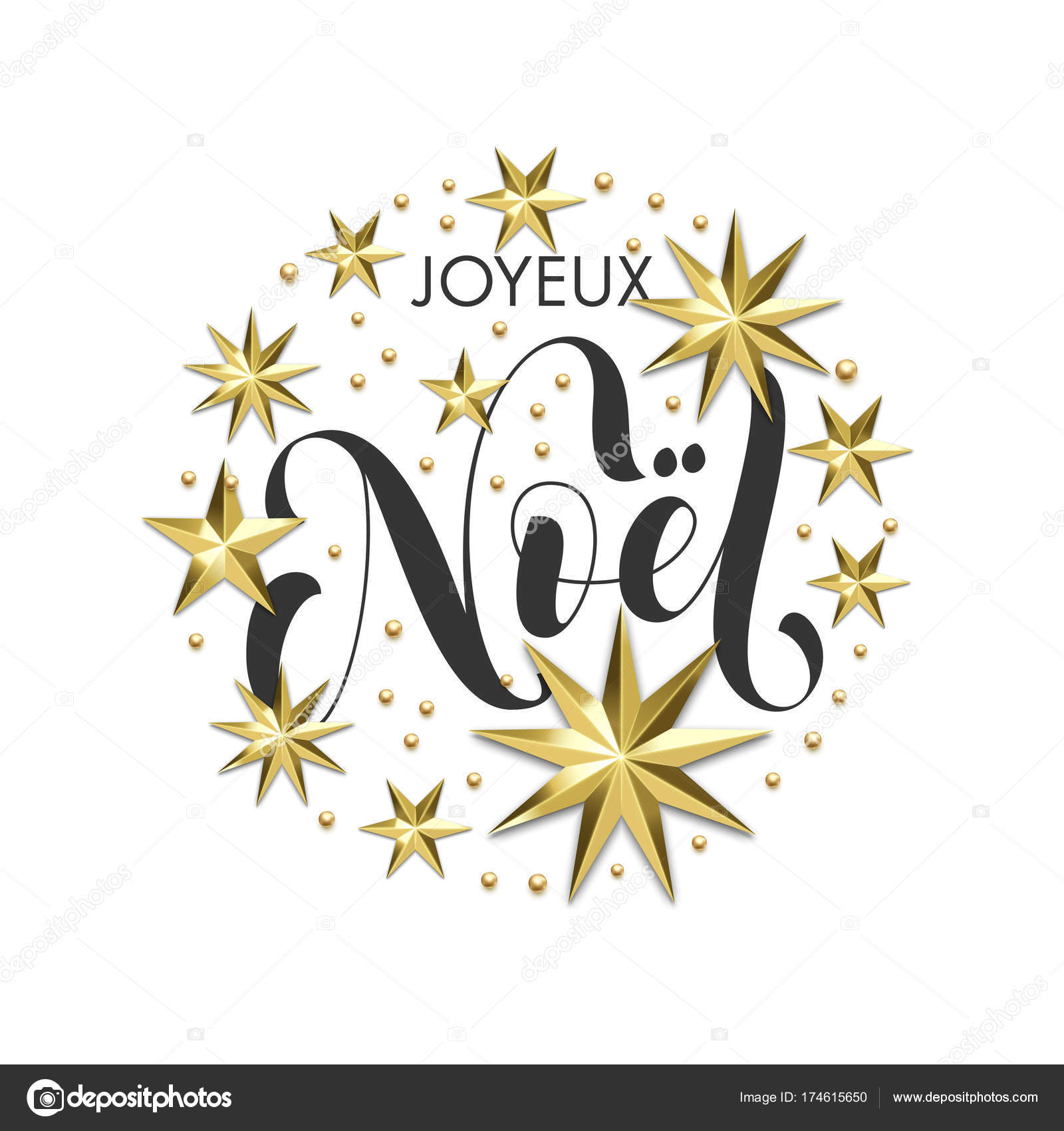 Joyeux noel french merry christmas golden star decoration joyeux noel french merry christmas golden star decoration calligraphy font for invitation or xmas greeting card vector christmas or new year holiday gold stopboris Gallery