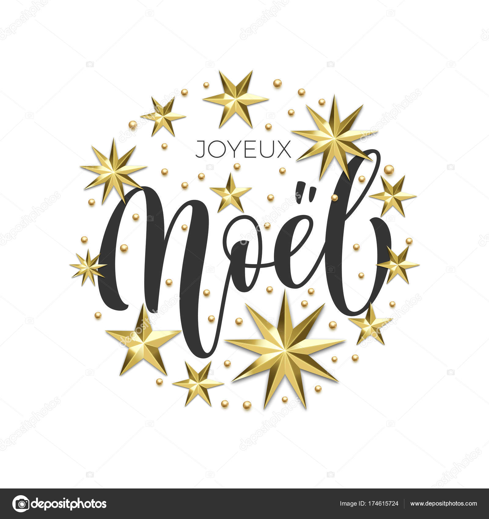 Joyeux noel french merry christmas holiday golden decoration joyeux noel french merry christmas holiday golden decoration calligraphy font for greeting card or invitation on white background vector christmas or new stopboris Gallery