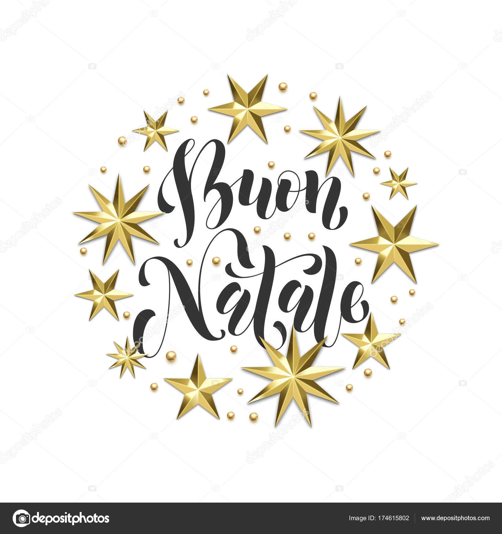 Buon natale italian merry christmas golden decoration calligraphy buon natale italian merry christmas golden decoration calligraphy font for xmas greeting card or invitation m4hsunfo