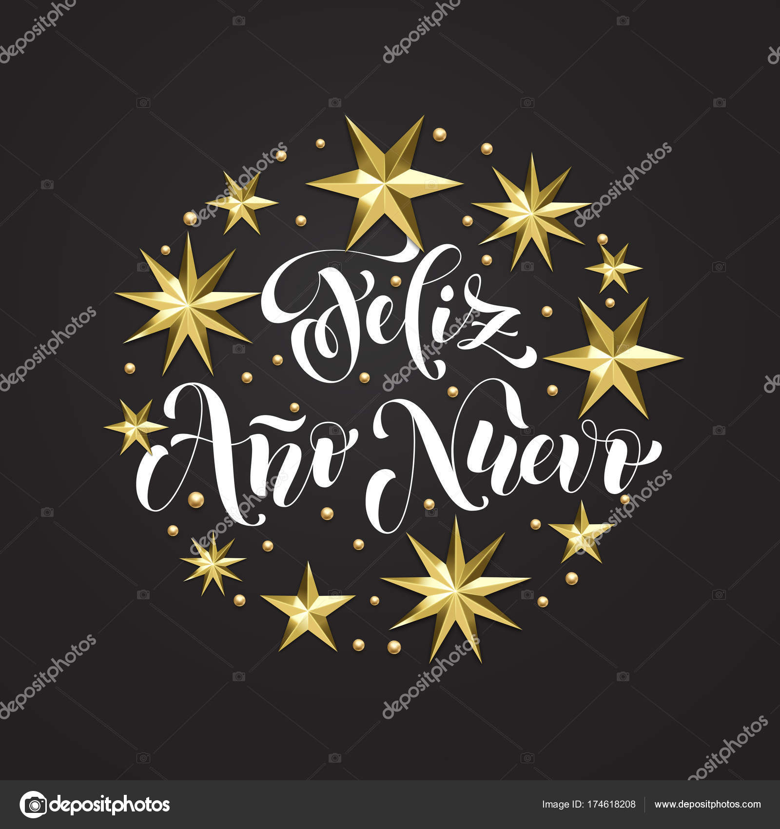 feliz ano nuevo spanish happy new year holiday golden decoration calligraphy font for xmas greeting card