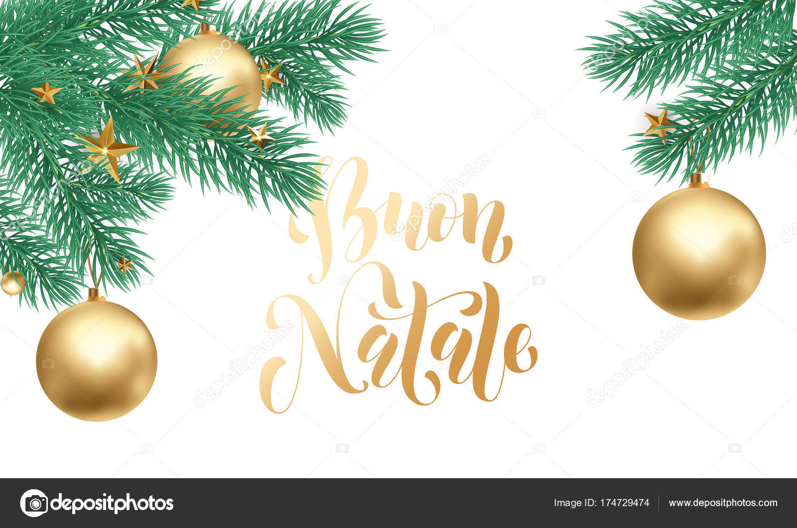 Merry Christmas In Italian.Buon Natale Italian Merry Christmas Holiday Golden Hand