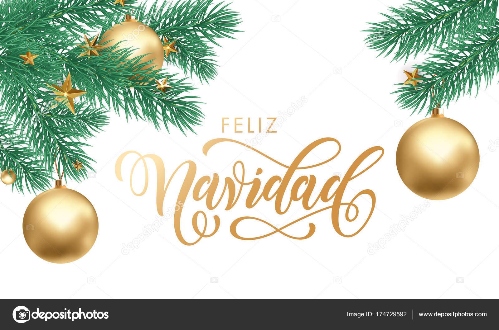 Merry Christmas In Spanish.Feliz Navidad Spanish Merry Christmas Hand Drawn Golden