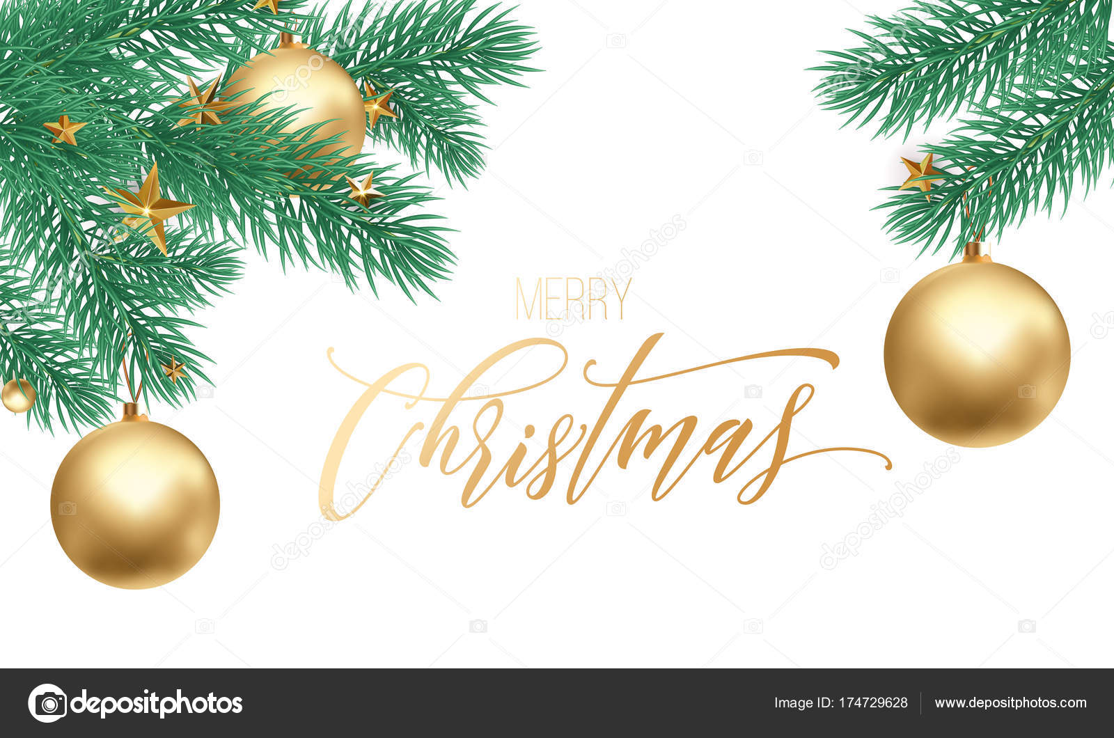 Merry Christmas holiday hand drawn quote golden calligraphy greeting ...