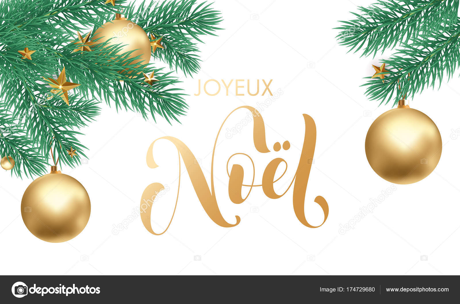 Joyeux noel french merry christmas holiday golden hand drawn joyeux noel french merry christmas holiday golden hand drawn calligraphy text greeting and gold star or ball on fir tree branch in white snow for card m4hsunfo