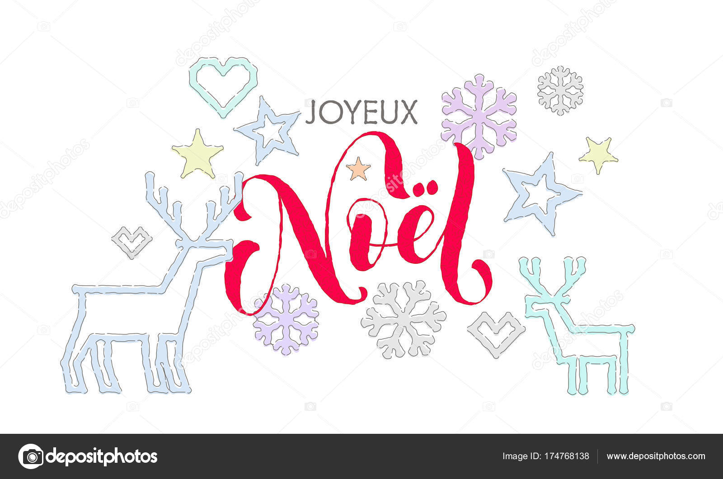 Joyeux Noel Französisch Frohe Weihnachten Kalligraphie Schrift und ...