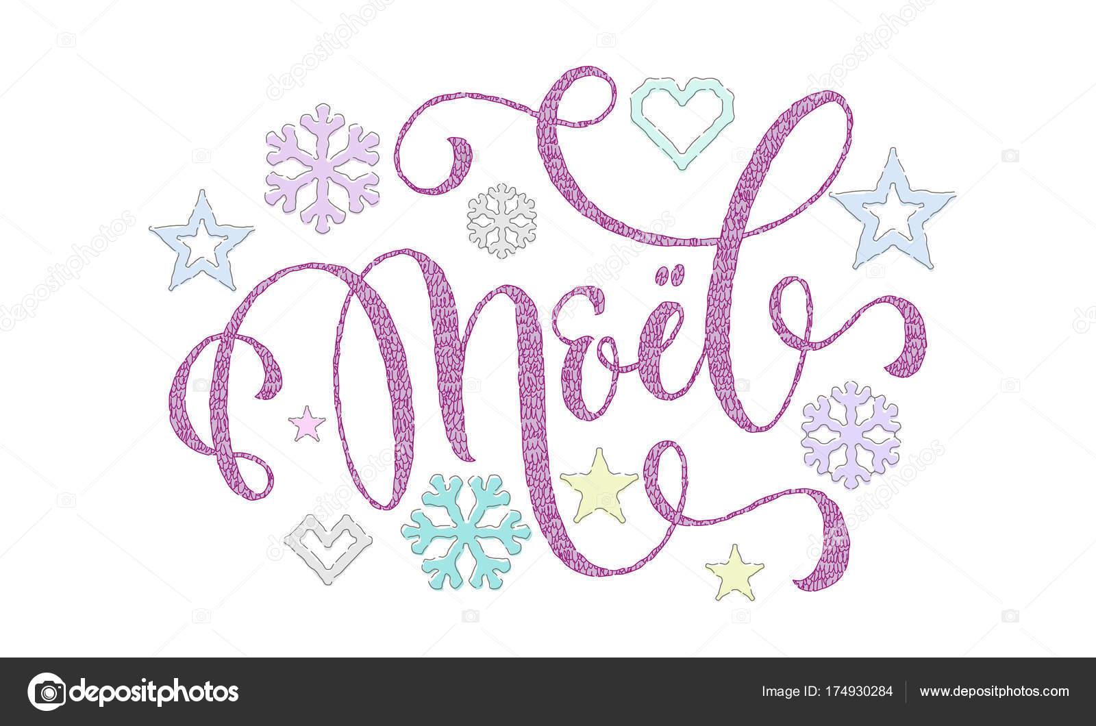 Joyeux Noel Französisch Frohe Weihnachten gestrickt Kalligraphie ...