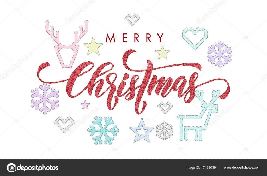 Feliz Navidad caligrafía fuente y bordado decoraciones para diseño ...