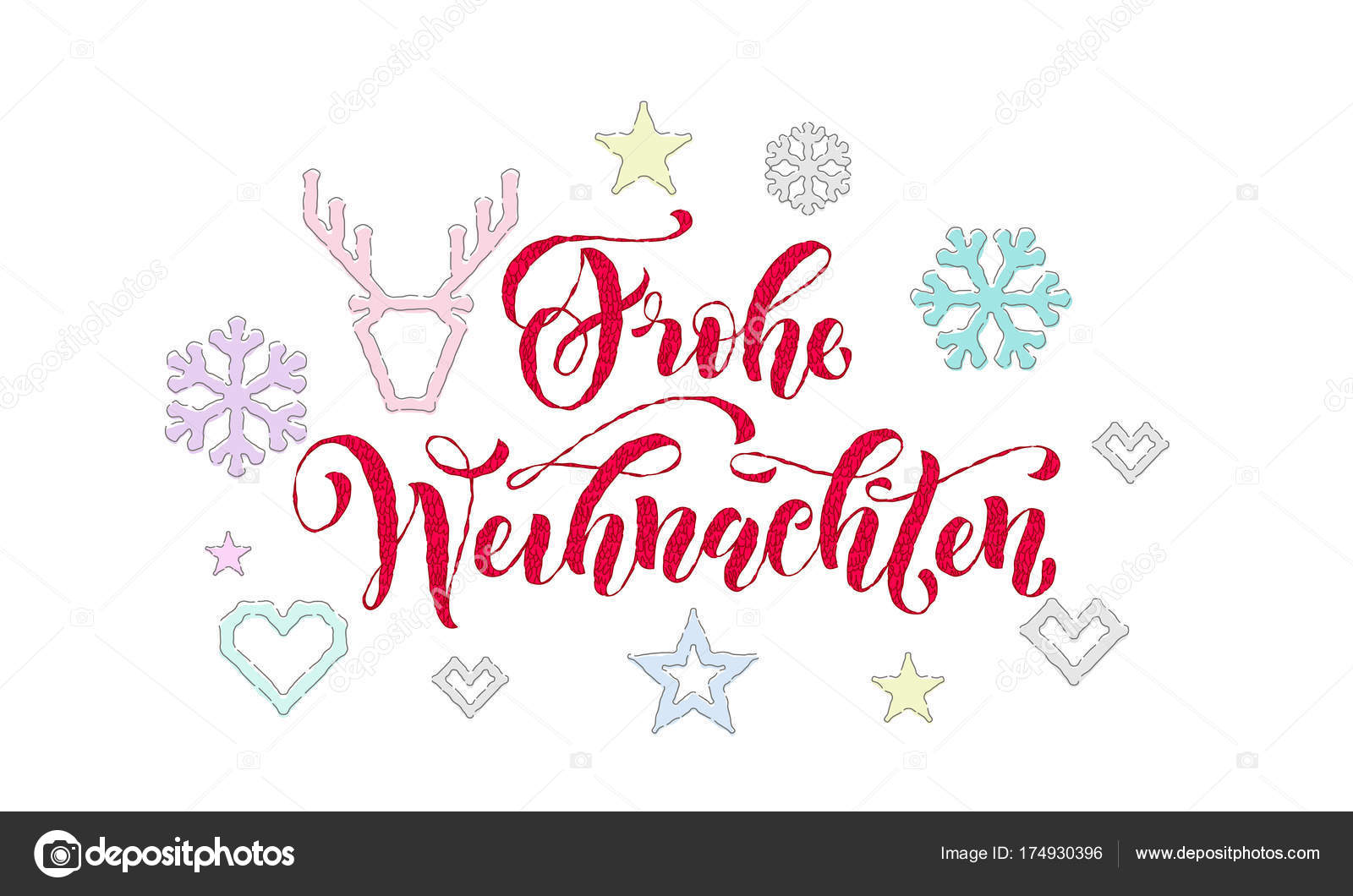 Frohe Weihnachten German Merry Christmas Knitted Calligraphy Font