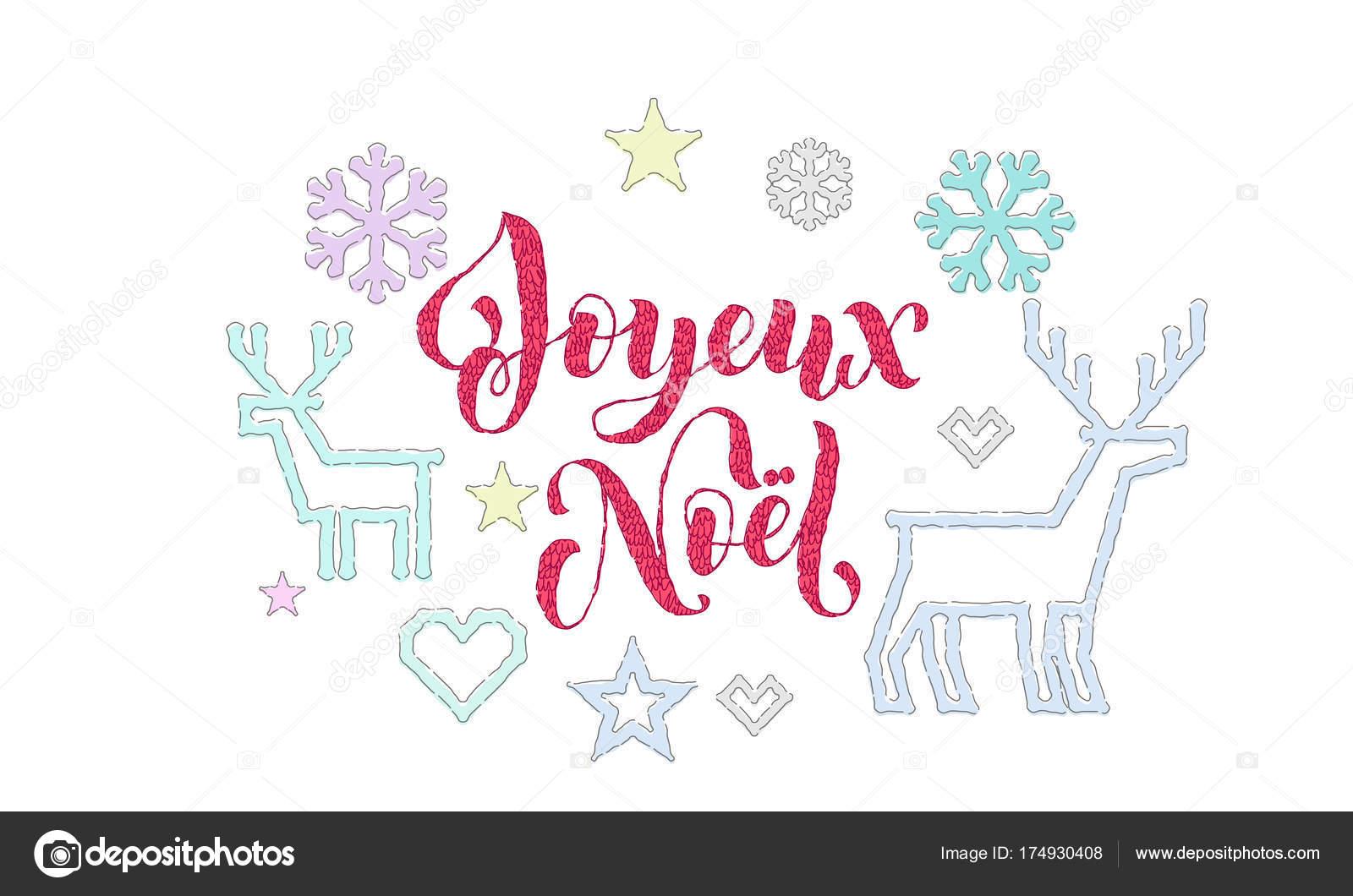 Joyeux Noel Französisch Frohe Weihnachten Stickerei Schriftart und ...