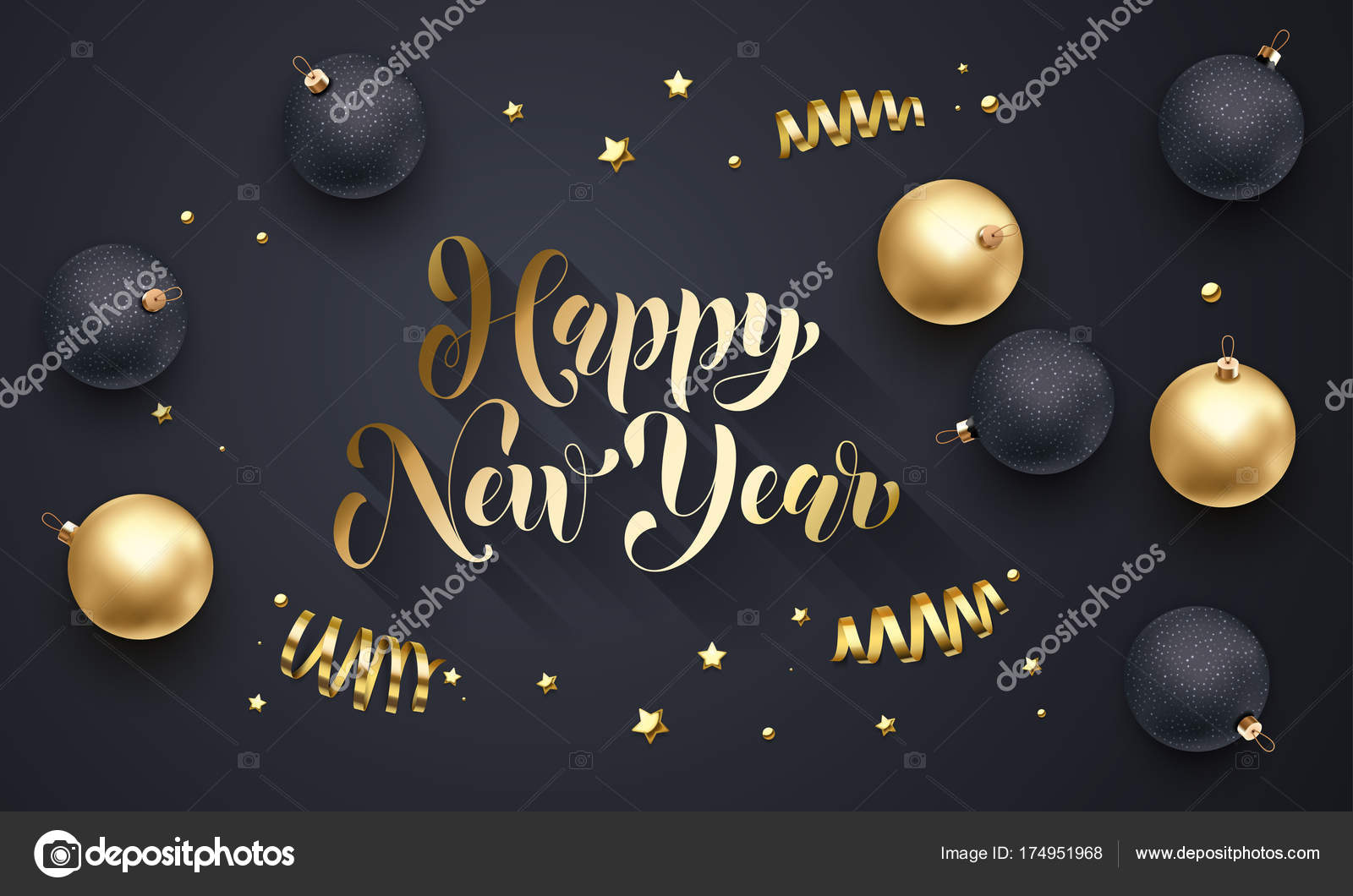 happy new year golden decoration hand drawn gold calligraphy font for greeting card black background