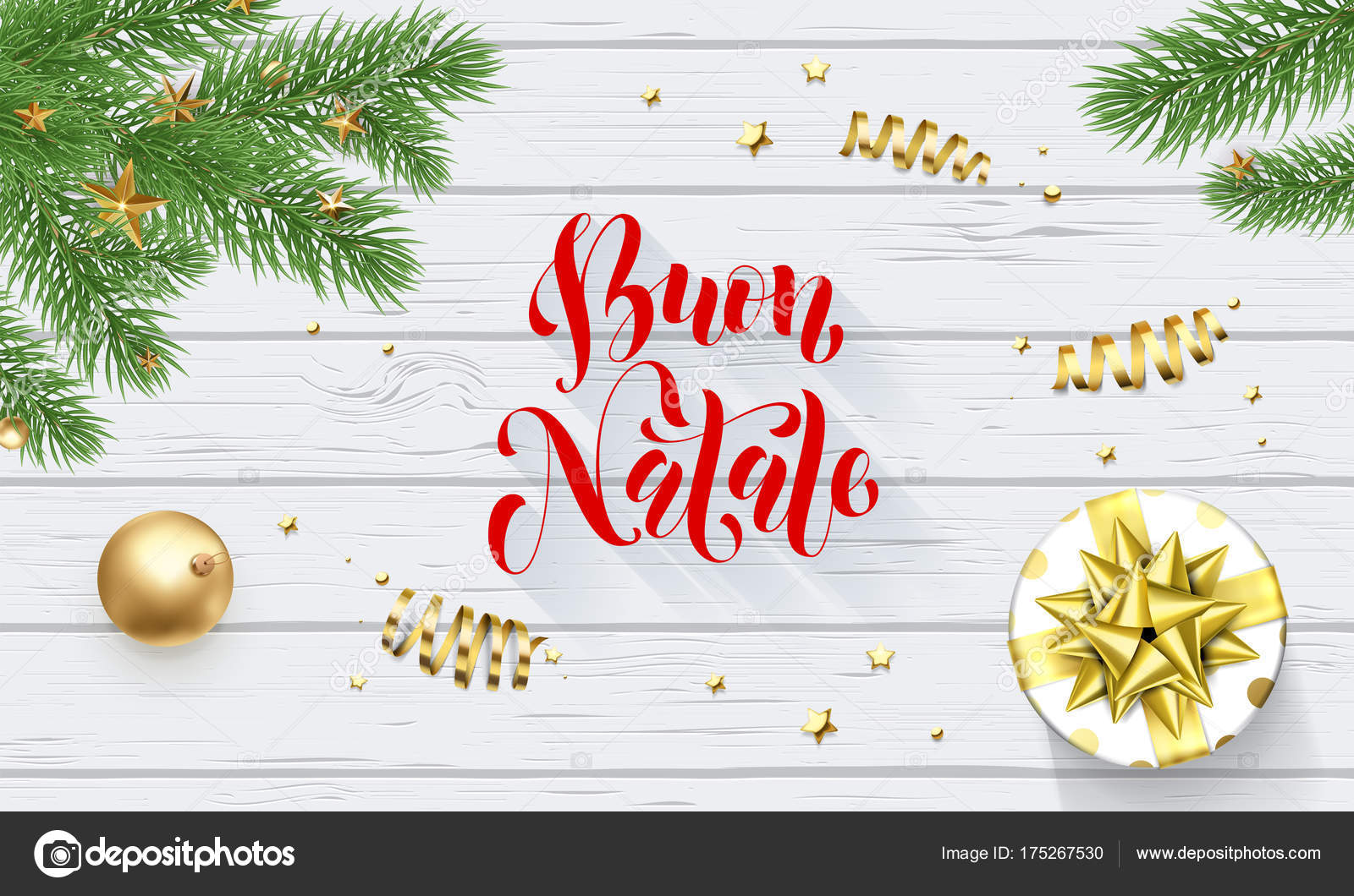 Merry Christmas In Italian.Buon Natale Italian Merry Christmas Holiday Golden