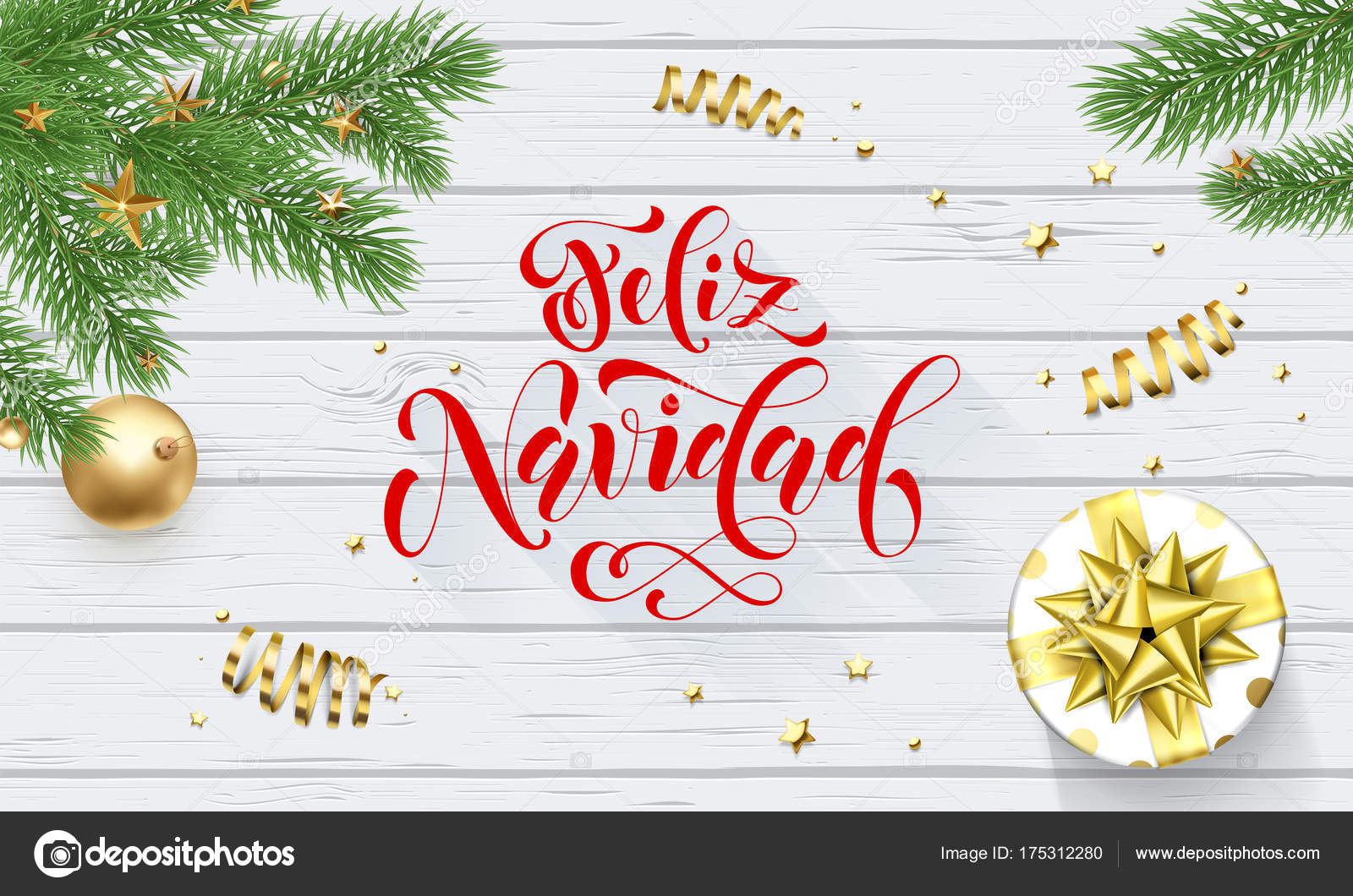 Buon Natale In Spagnolo.Feliz Navidad Spanish Merry Christmas Holiday Golden Decoration On Xmas Tree Calligraphy Font For Greeting Card White Wooden Background Vector Christmas Or New Year Golden Shiny Gift Confetti Design Vector Image