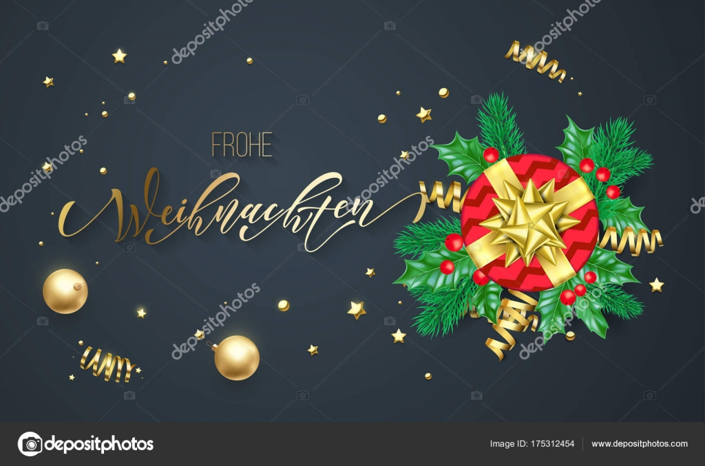 frohe weihnachten german merry christmas holiday golden calligraphy on gold decoration greeting card template vector