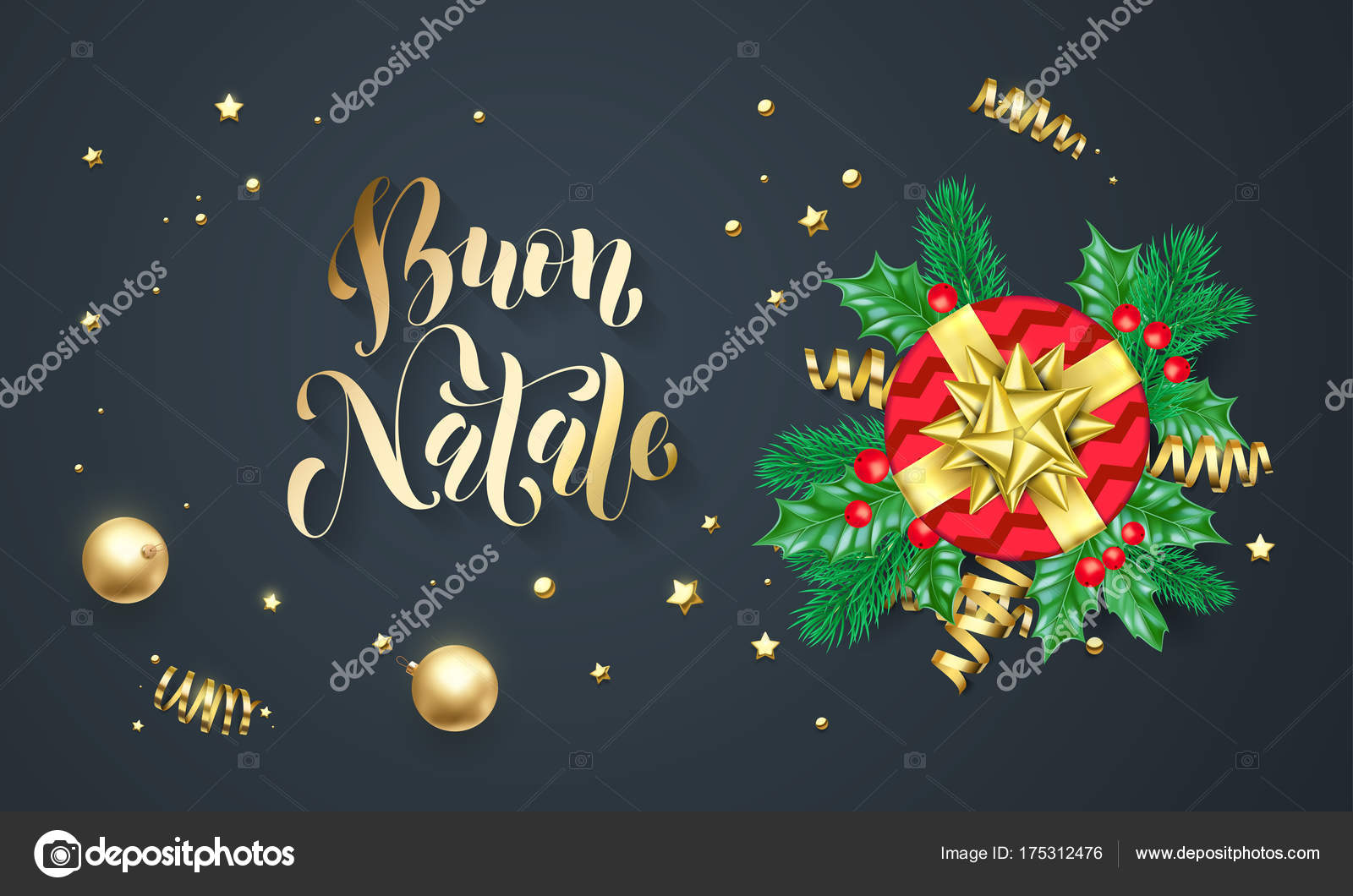Buon Natale Italian Merry Christmas Holiday Golden Calligraphy And