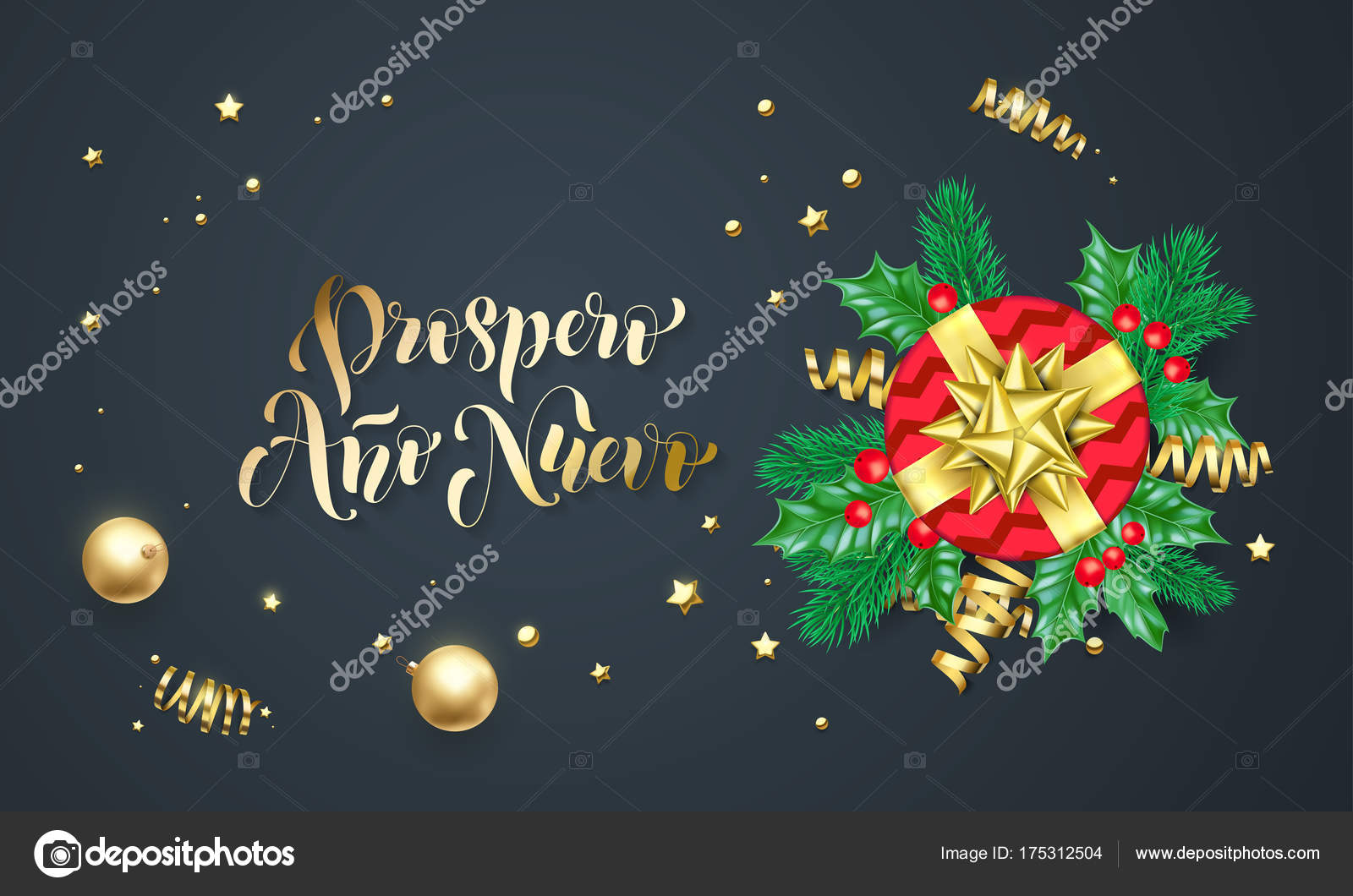 Prospero Ano Nuevo Spanish New Year Golden Decoration And Gold Font