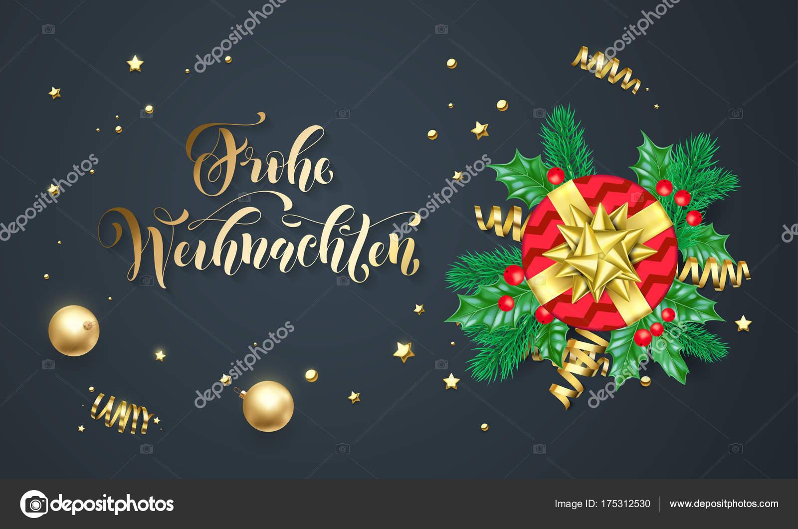 Merry Christmas In German.Frohe Weihnachten German Merry Christmas Golden Calligraphy