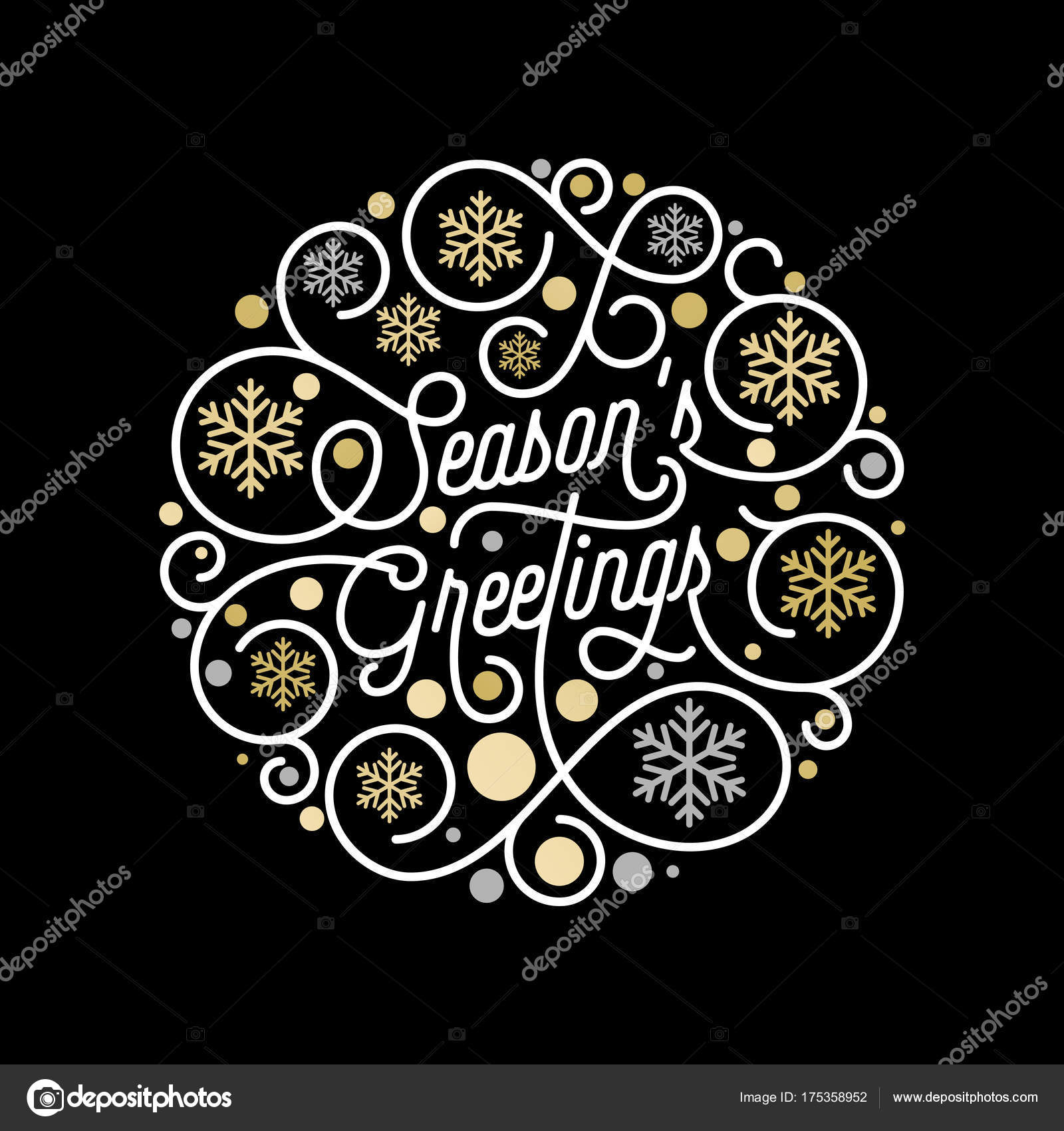 Season greetings calligraphy lettering and golden snowflake pattern season greetings calligraphy lettering and golden snowflake pattern on white background for christmas greeting card design m4hsunfo