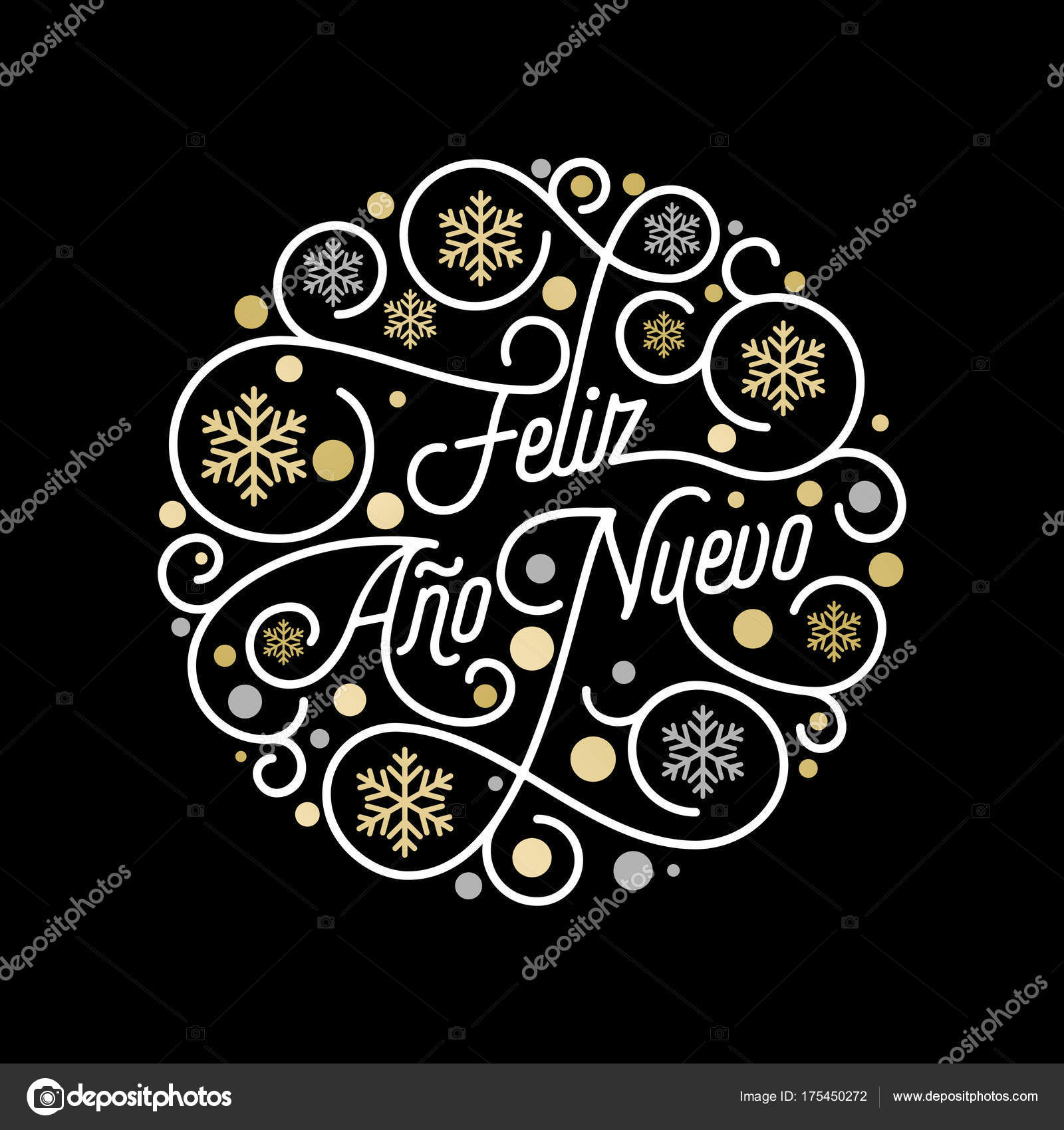 feliz ano nuevo spanish happy new year navidad calligraphy lettering and golden snowflake pattern on white