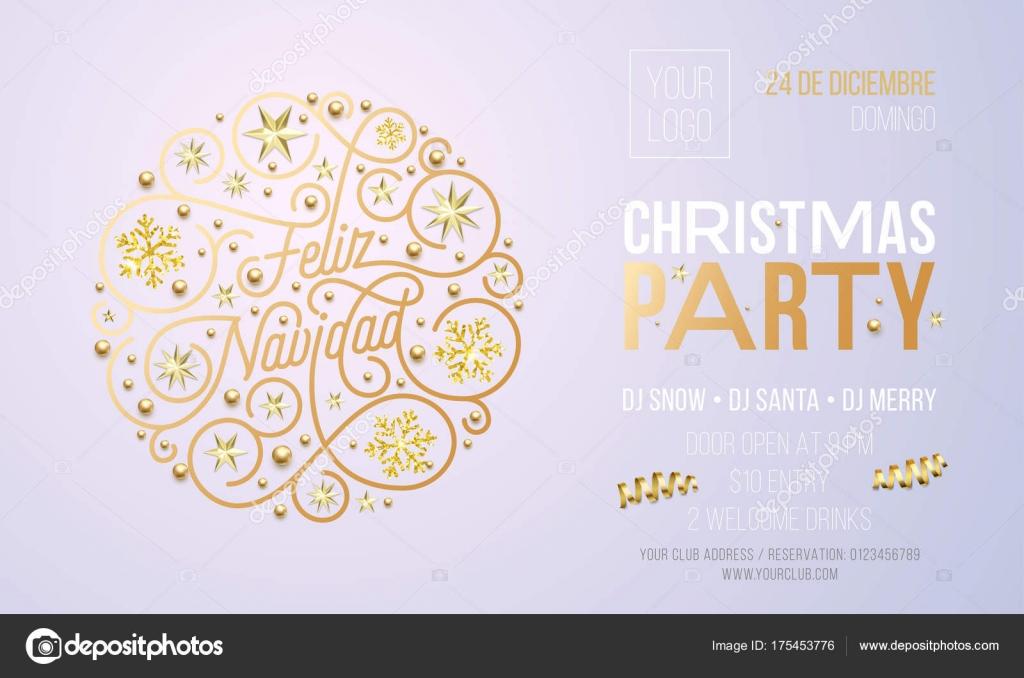 Christmas Party Invitation For Spanish Feliz Navidad Holiday