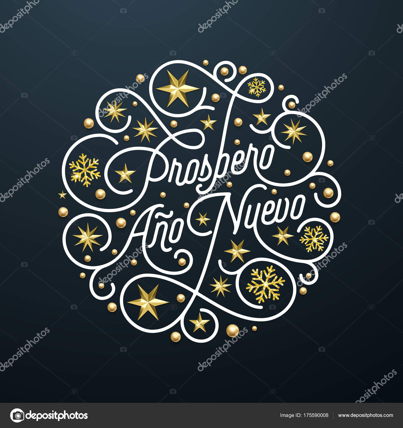 prospero ano nuevo spanish happy new year navidad calligraphy lettering golden snowflake star pattern decoration