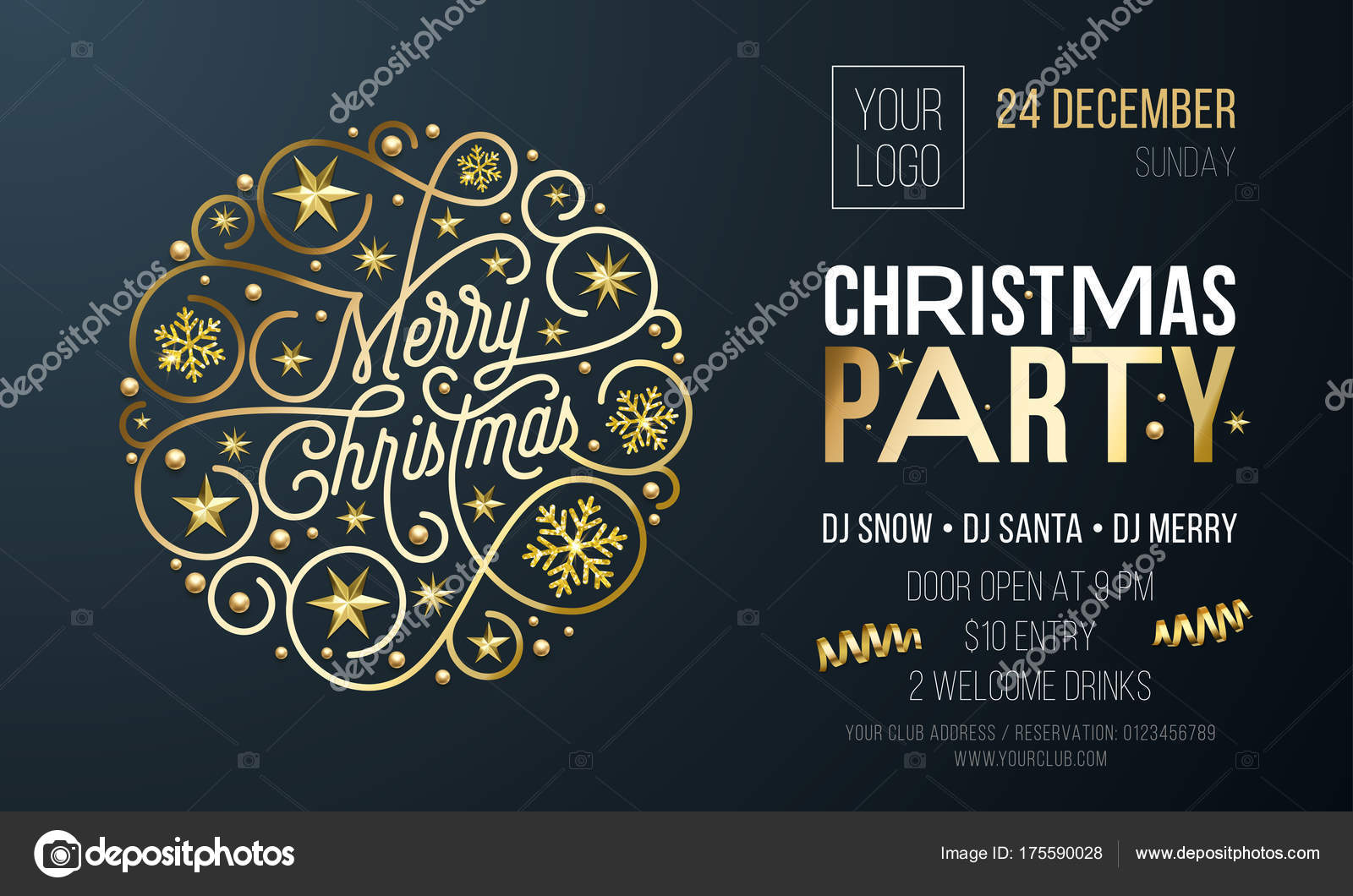 Christmas Party Invitation Card Or Poster Of Golden New Year