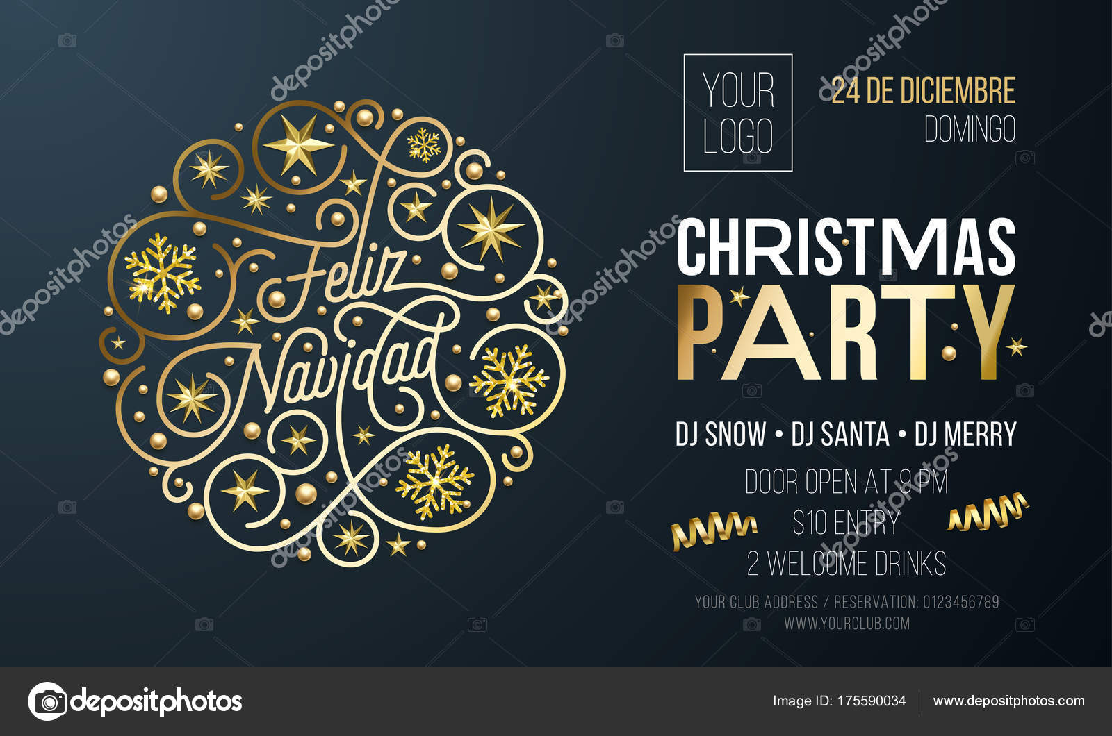 christmas party invitation for spanish feliz navidad holiday celebration design template vector new year or xmas corporate party invitation flyer of golden