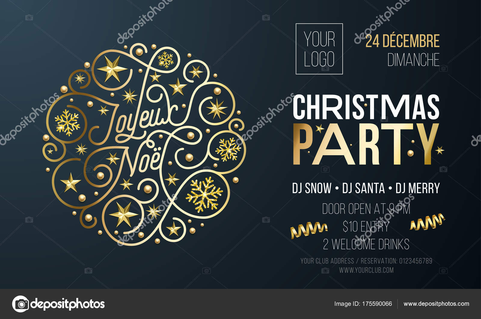 Christmas party invitation for french joyeux noel holiday christmas party invitation for french joyeux noel holiday celebration design template vector new year or stopboris Gallery