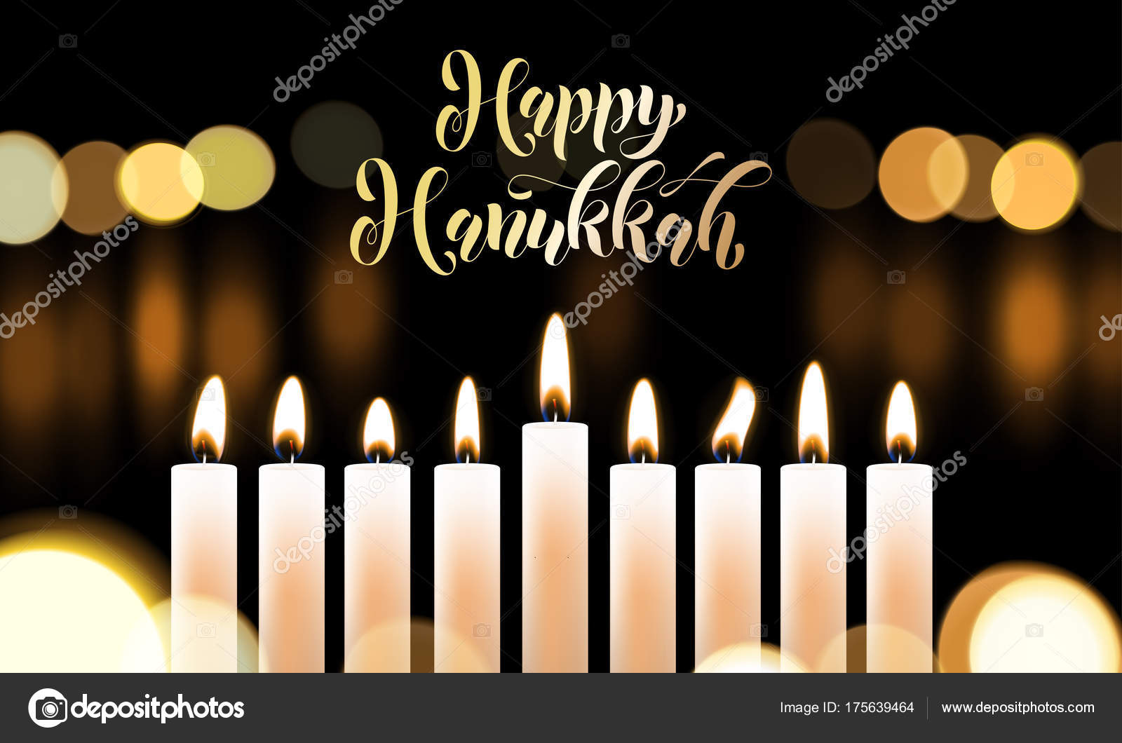 Happy Hanukkah Golden Font And Candles Jewish Holiday Greeting Card Design  Template. Vector Chanukah Or Hanukah Holy Lights Festival Golden  Calligraphy Text ...