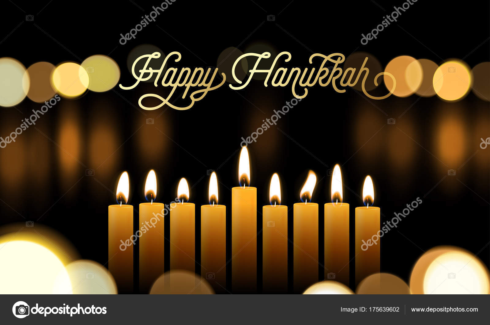 Happy Hanukkah Greeting Card Of Golden Font And Candles For Jewish