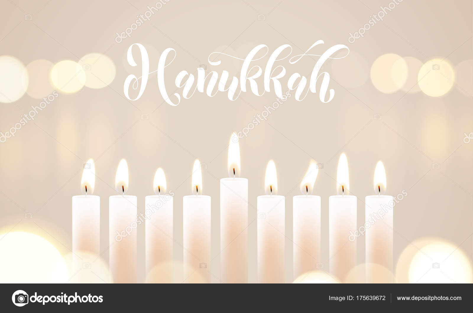 Happy Hanukkah Candle Lights Bokeh And White Calligraphy Text For Jewish  Holiday Greeting Card Design.