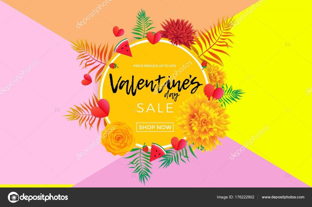Día de San Valentín bandera venta de corazones, flores de color de ...