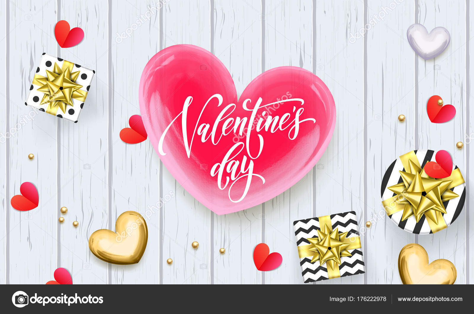 Valentines Day Greeting Card Or Sale Banner Of Red And Golden Hearts