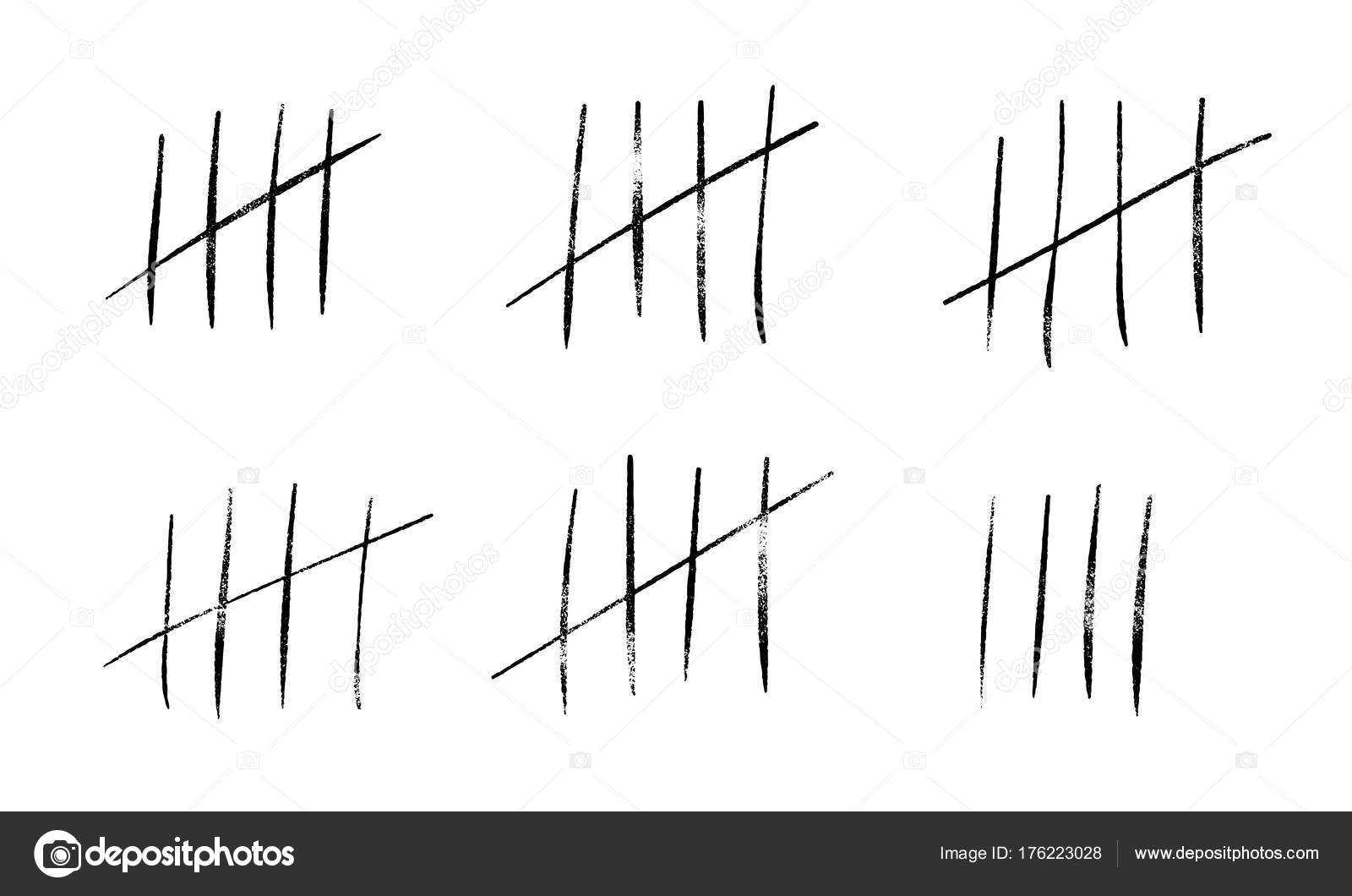 tally marks count or prison wall sticks lines counter vector hash