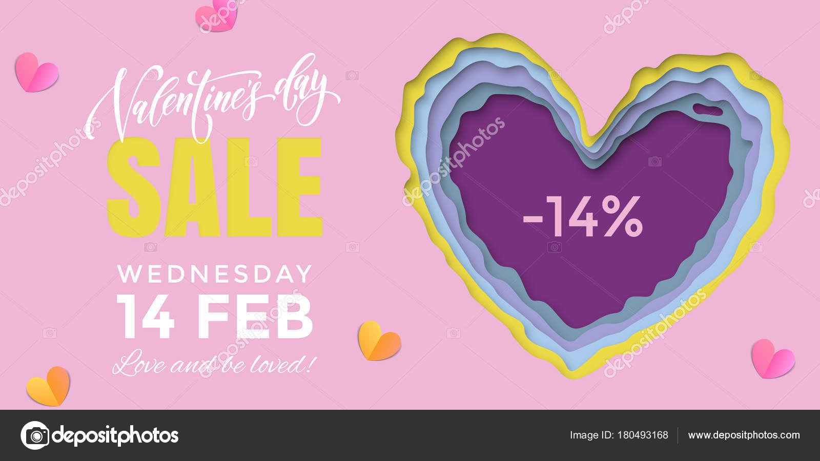 Valentines Day sale banner design template of heart papercard on ...
