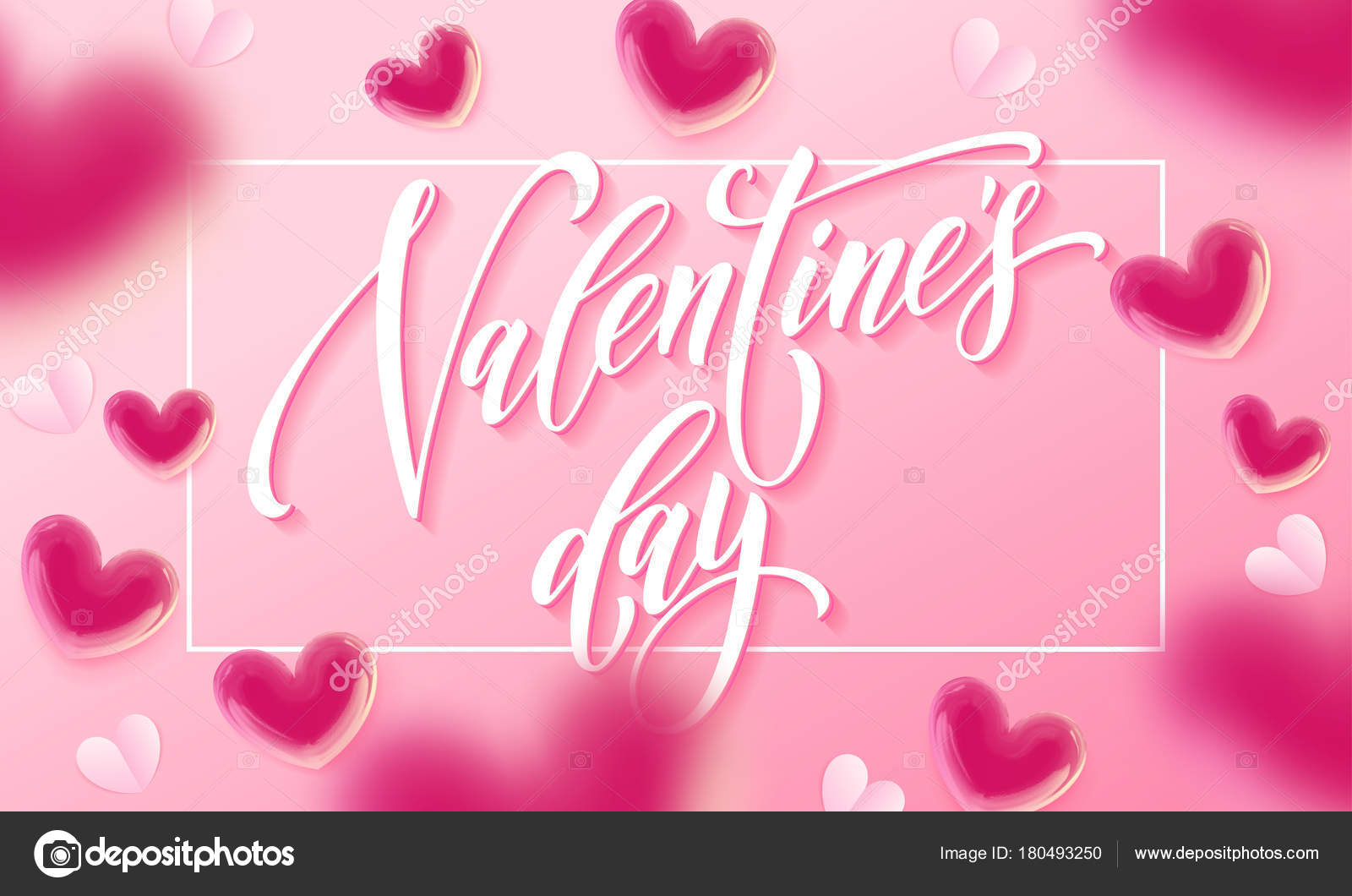 Happy Valentines Day Lettering Text And Valentine Hearts Pattern On
