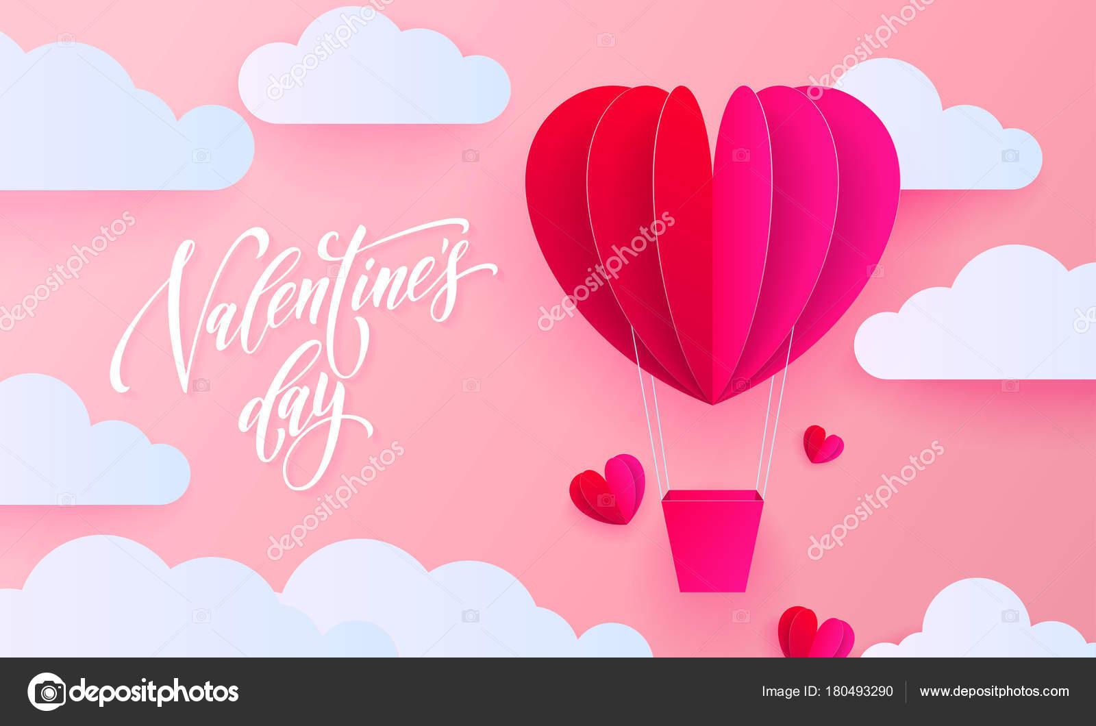 Valentinstag Grußkarte Valentin Papier Kunst Herzballon mit Geschenk ...