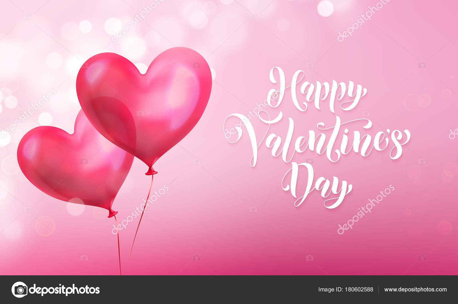 Valentines day greeting card of valentine red heart balloon on pink valentines day greeting card of valentine red heart balloon on pink light shine background vector m4hsunfo
