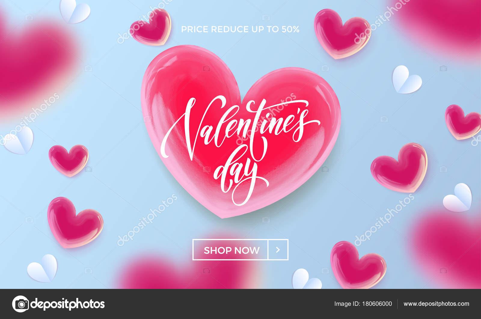 Valentines Day Sale Poster oder Banner von Valentine roten Herz auf ...