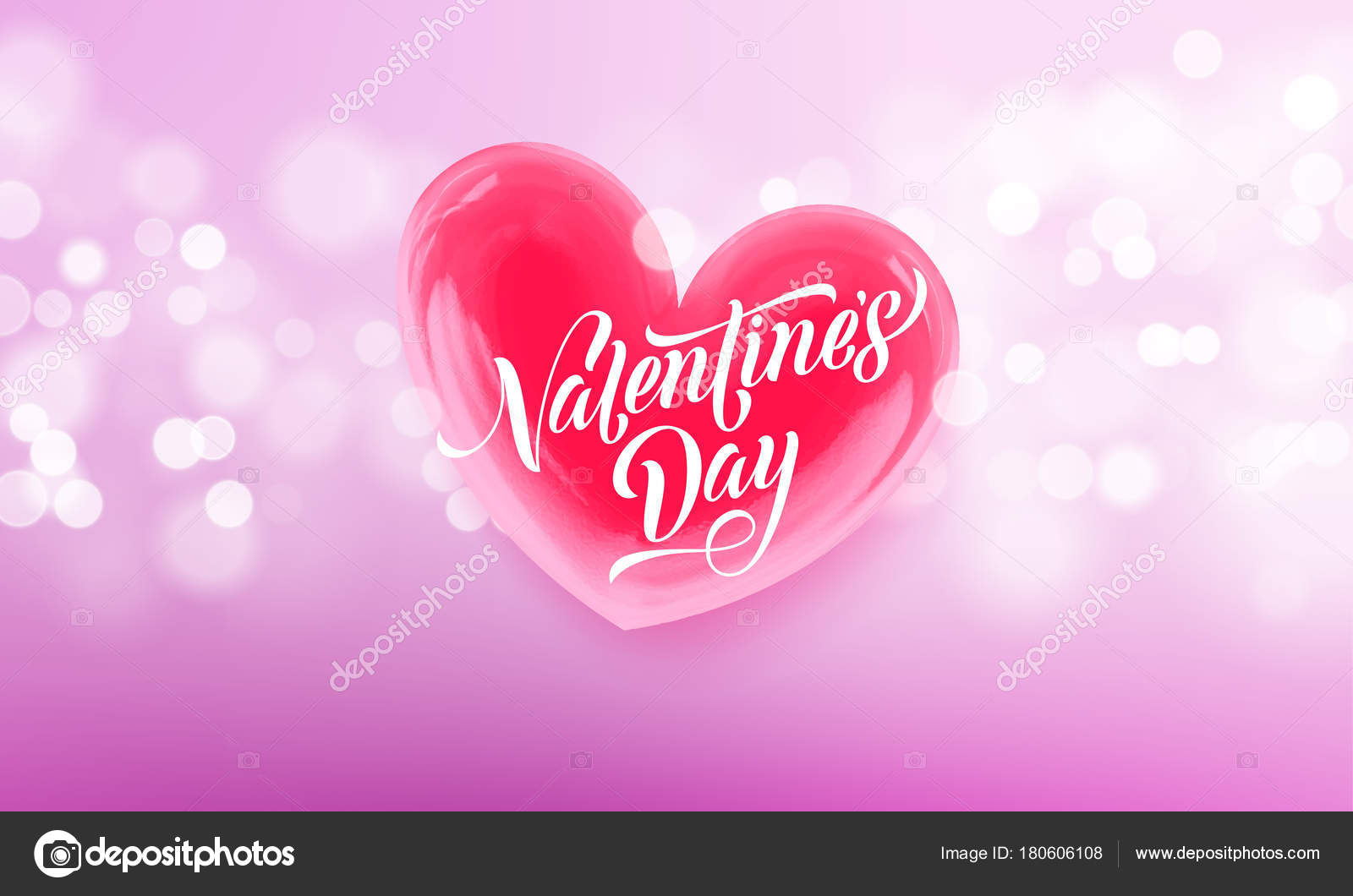 Happy Valentines Day Lettering Text And Valentine Red Crystal Heart