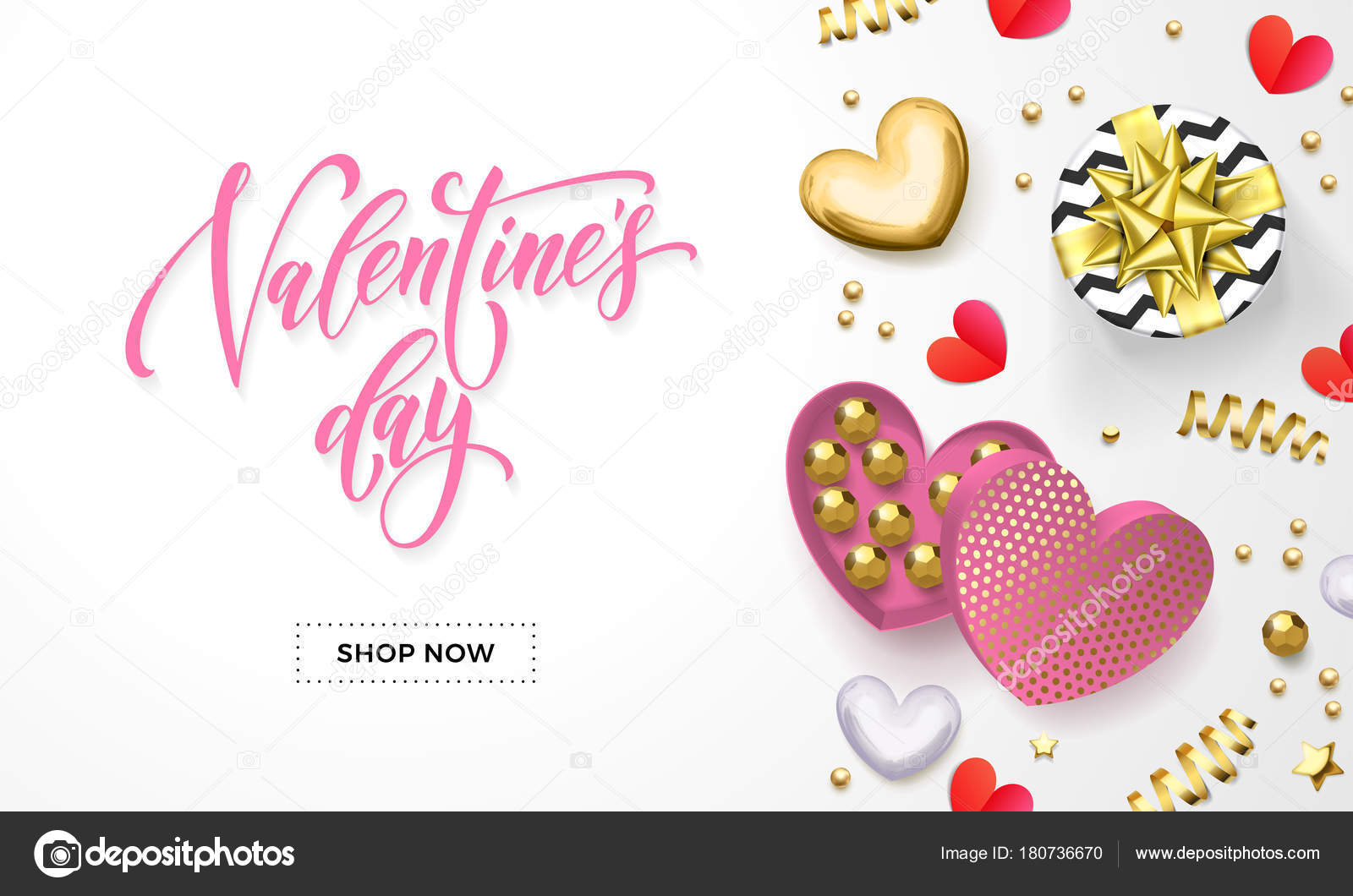 Valentines Day Sale Web Banner For Shop Store Design Of Heart Gift