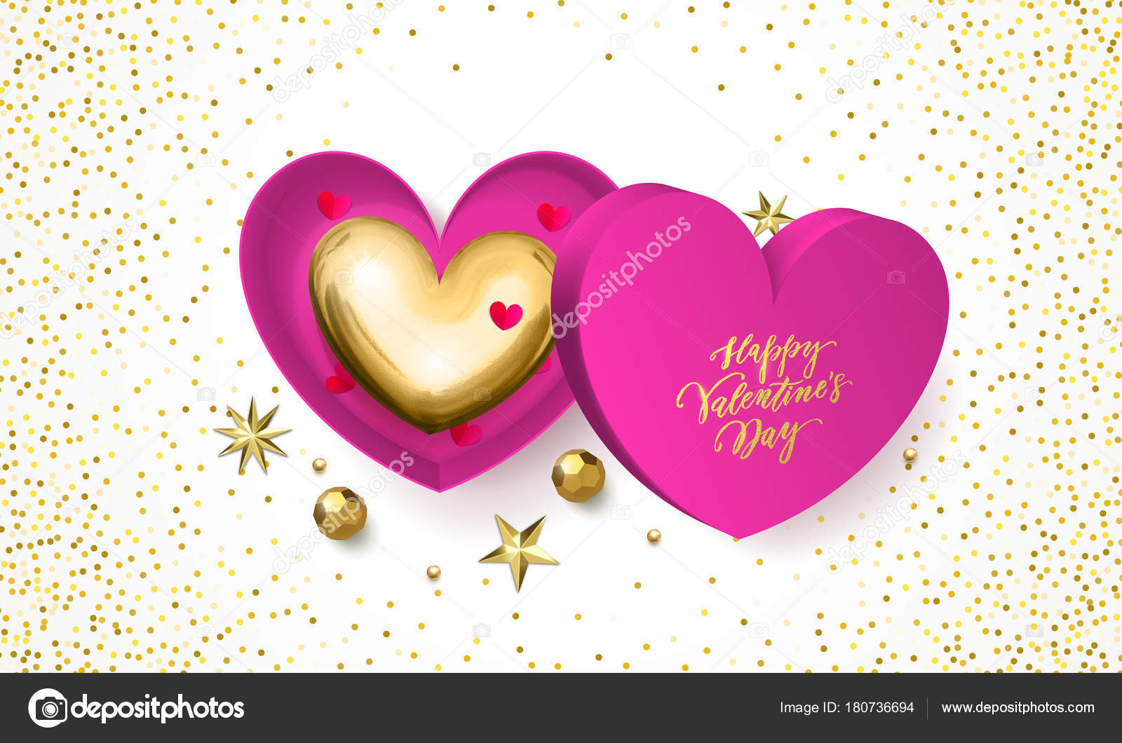 Happy Valentines Day Greeting Card Of Golden Heart In Pink Gift Box